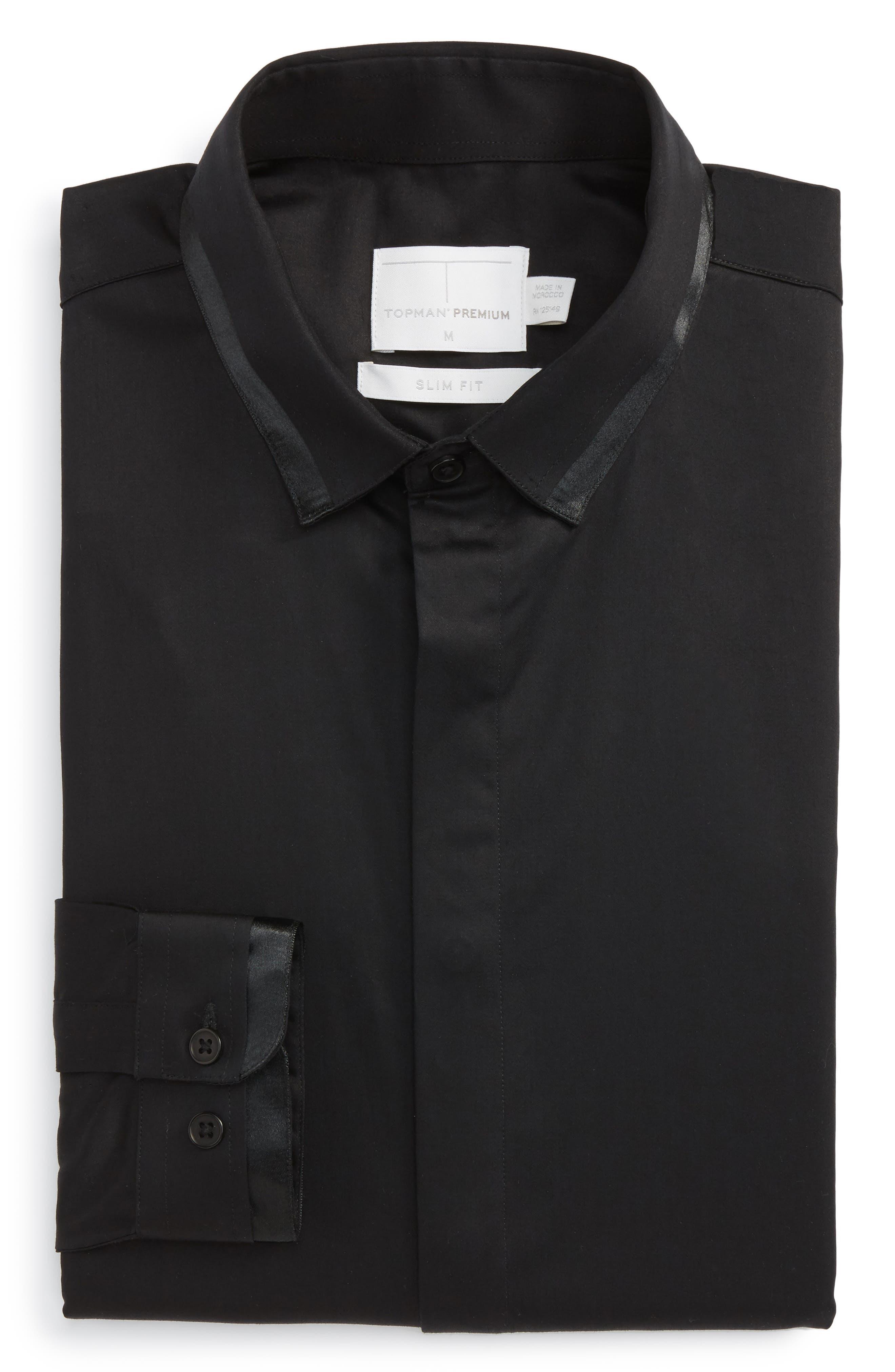 Main Image - Topman Satin Trim Woven Shirt