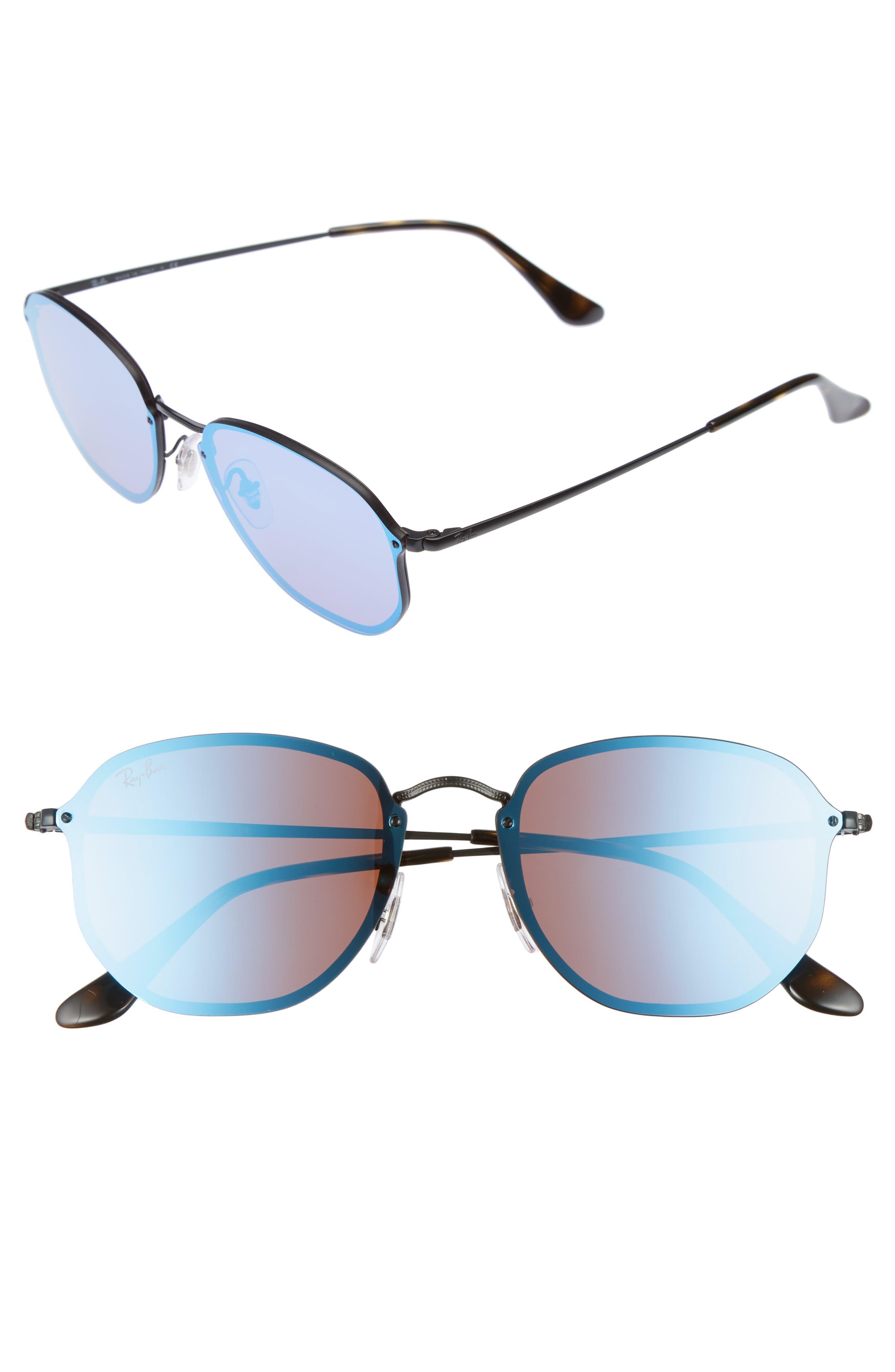 58mm Round Sunglasses,                         Main,                         color, Shiny Black