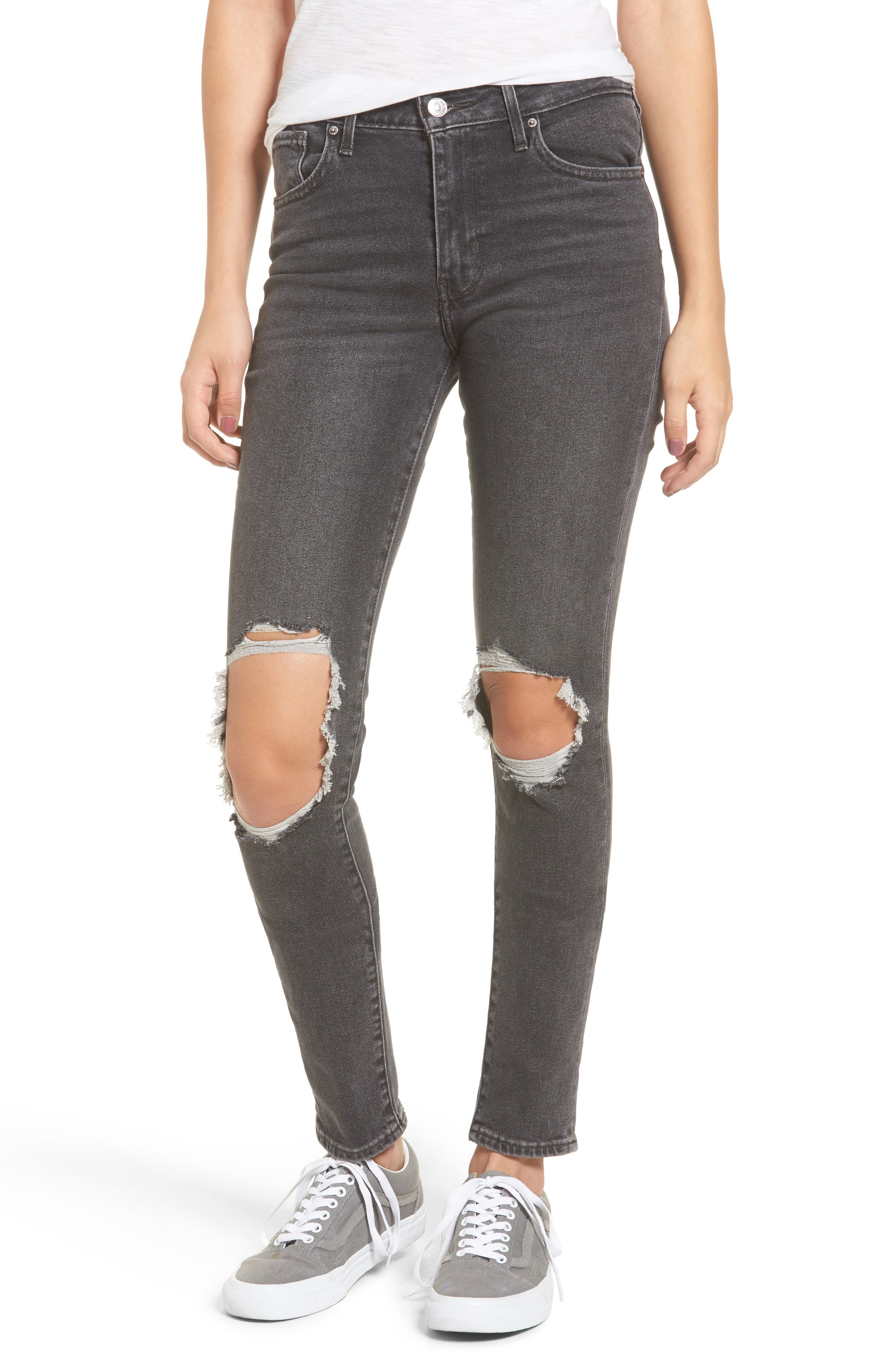 Levi's® 721 Ripped High Waist Skinny Jeans (Rugged Black)