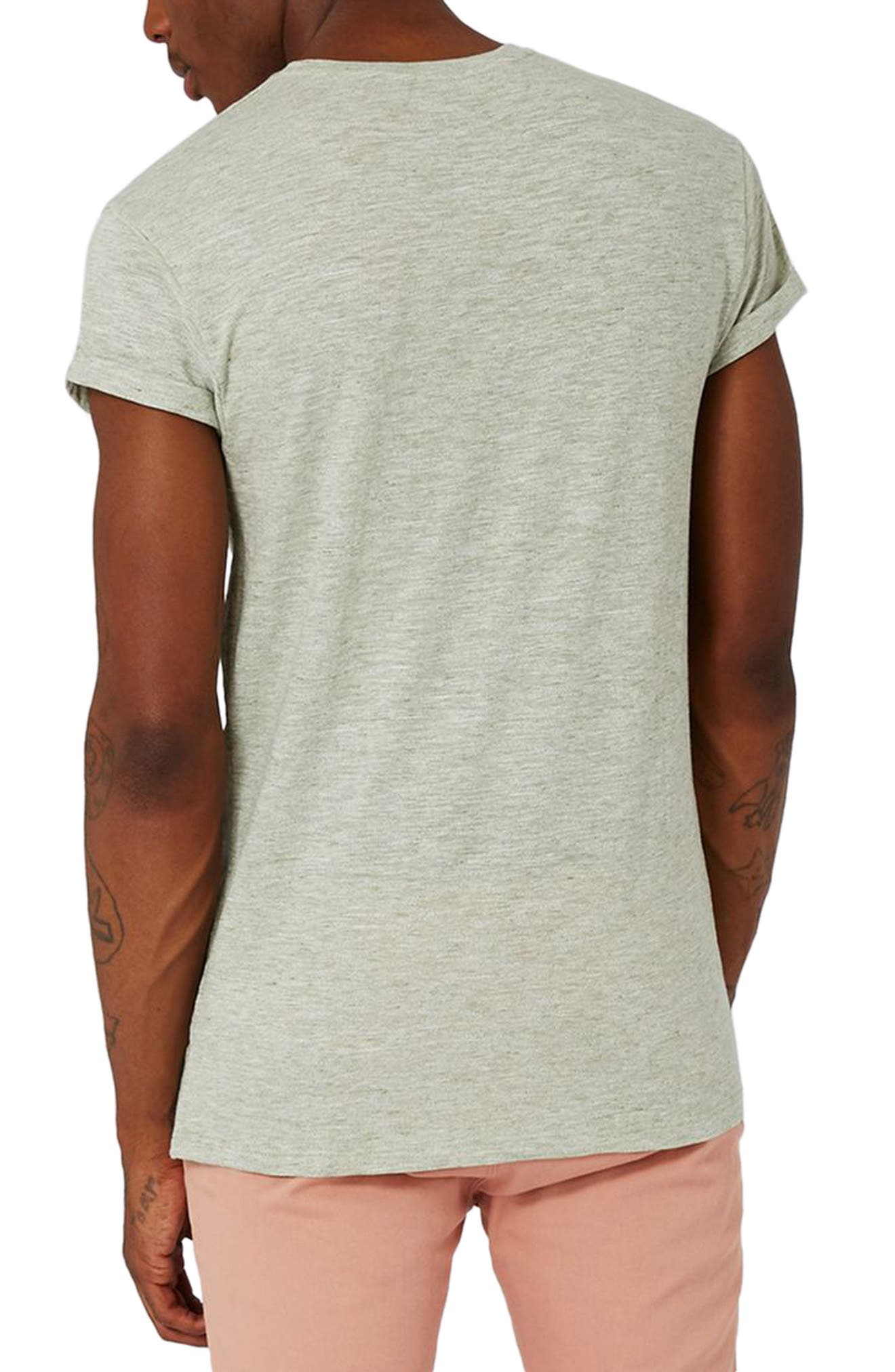 Muscle Fit Roll Sleeve T-Shirt,                             Alternate thumbnail 2, color,                             Light Olive
