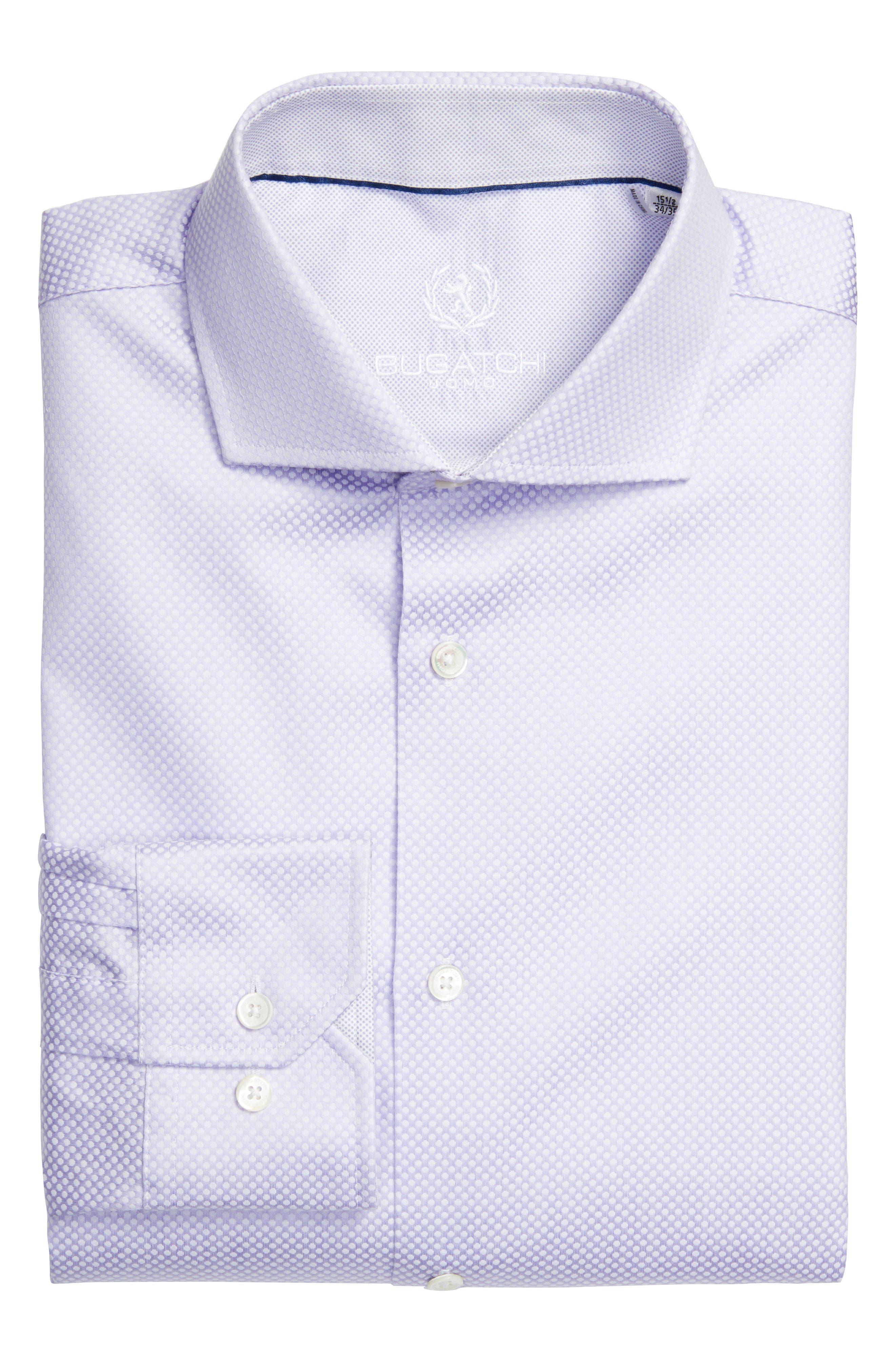 Trim Fit Dot Jacquard Dress Shirt,                         Main,                         color, Lavender