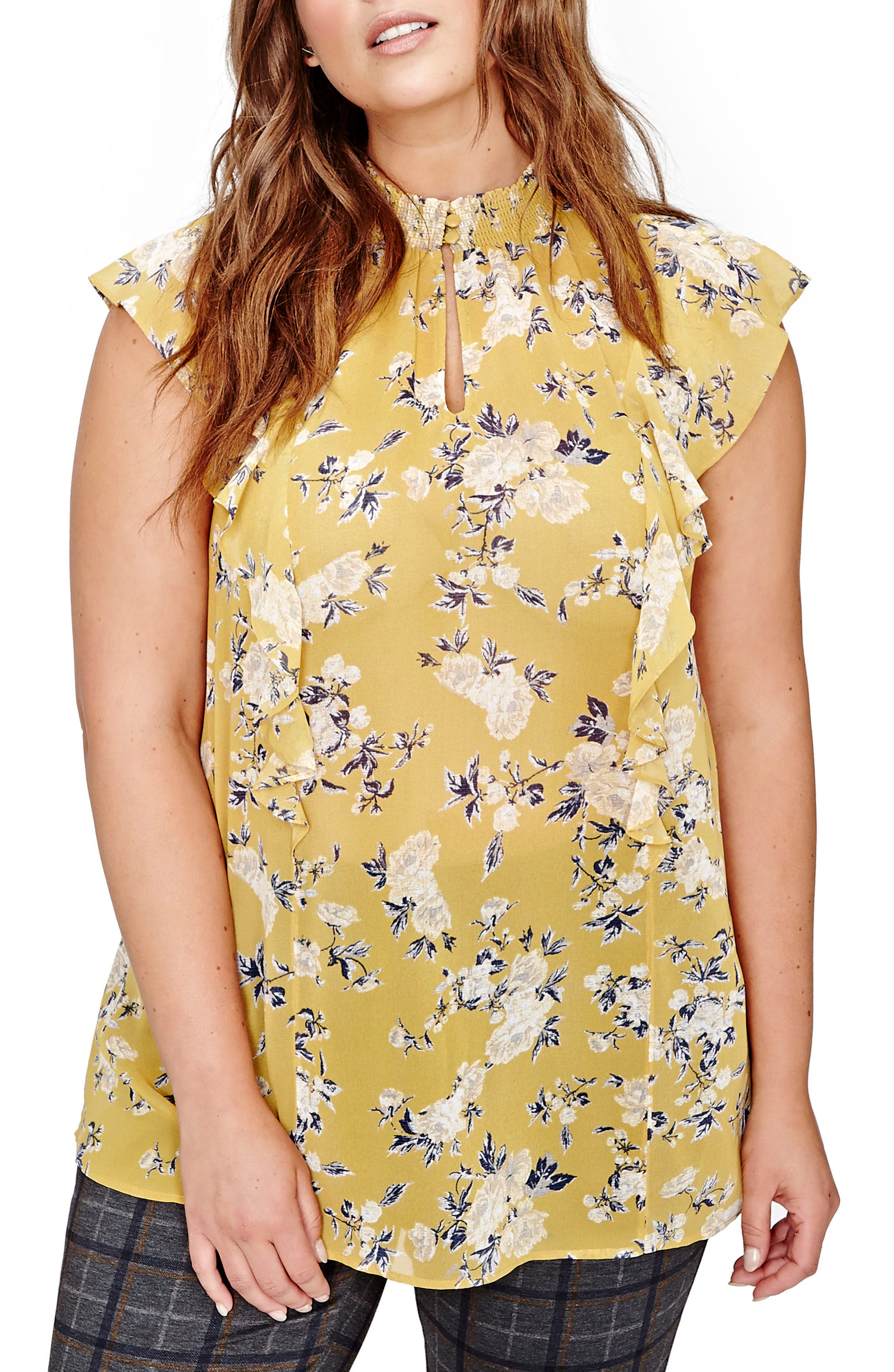 Michel Studio Floral Swing Blouse (Plus Size)