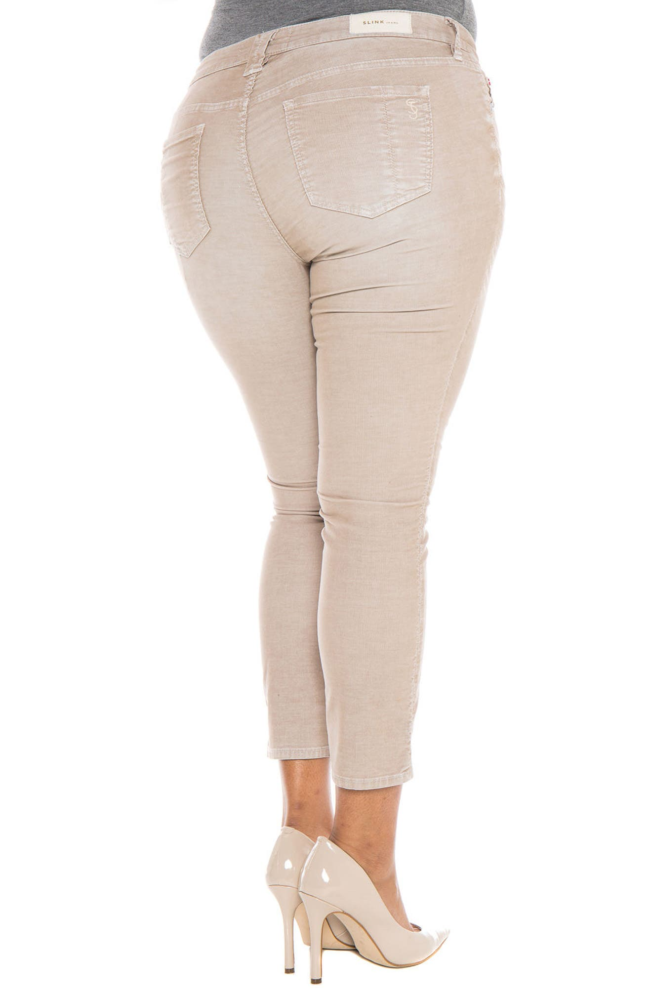 Alternate Image 4  - SLINK Jeans Stretch Corduroy Cropped Skinny Pants (Plus Size)