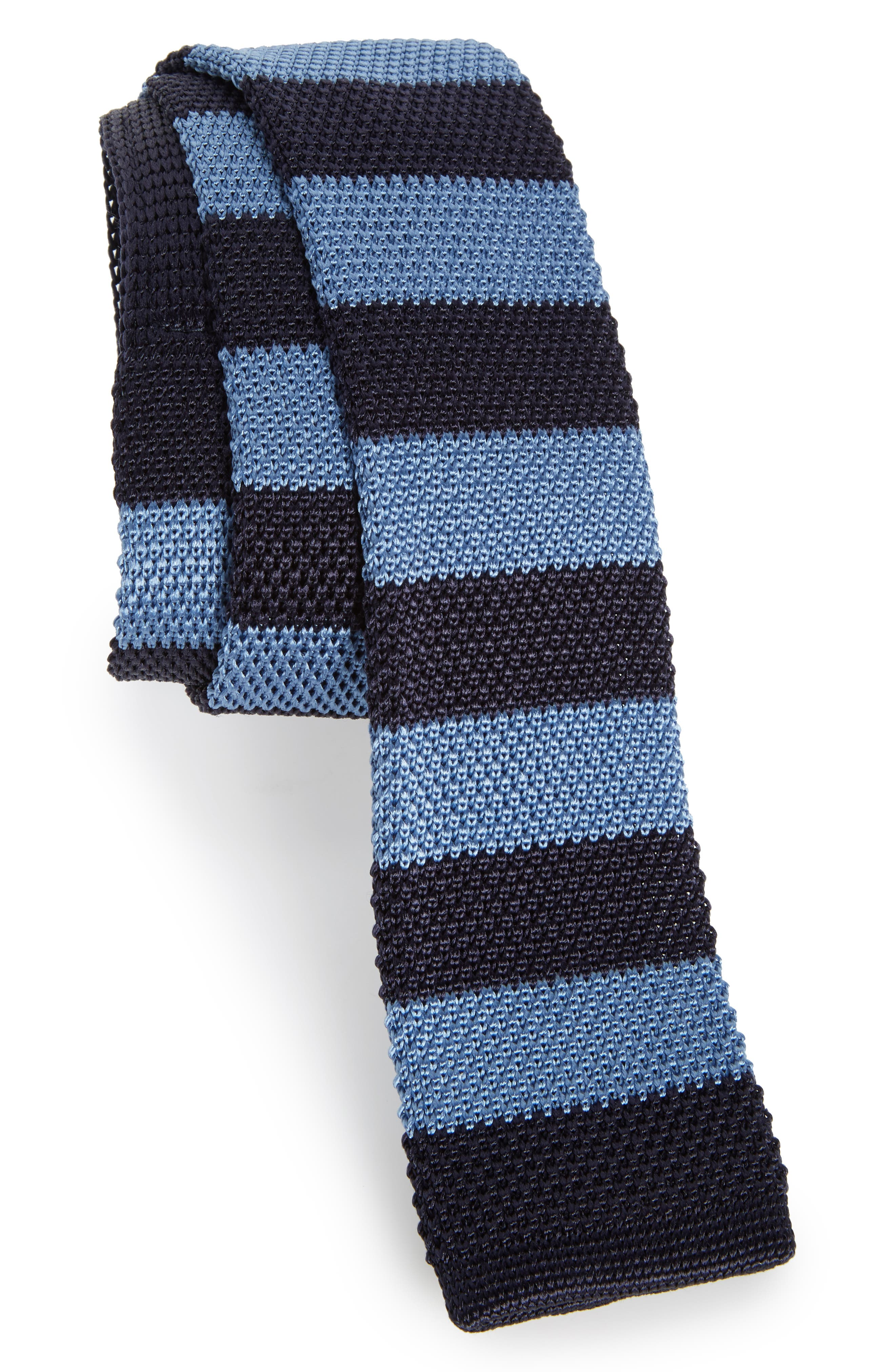 Stripe Knit Silk Tie,                             Main thumbnail 1, color,                             Navy