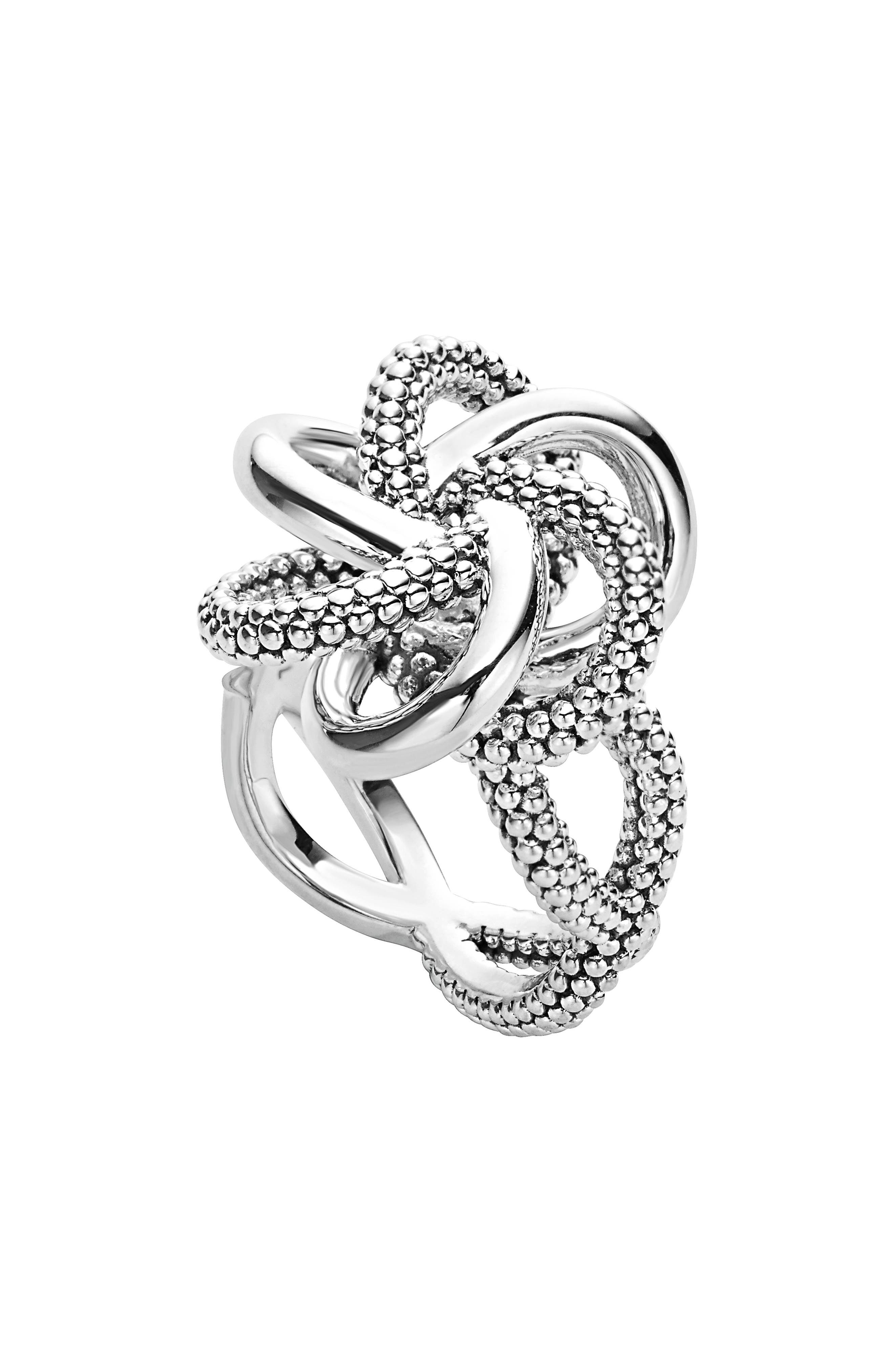 'Love Knot' Twist Ring,                             Main thumbnail 1, color,                             Sterling Silver