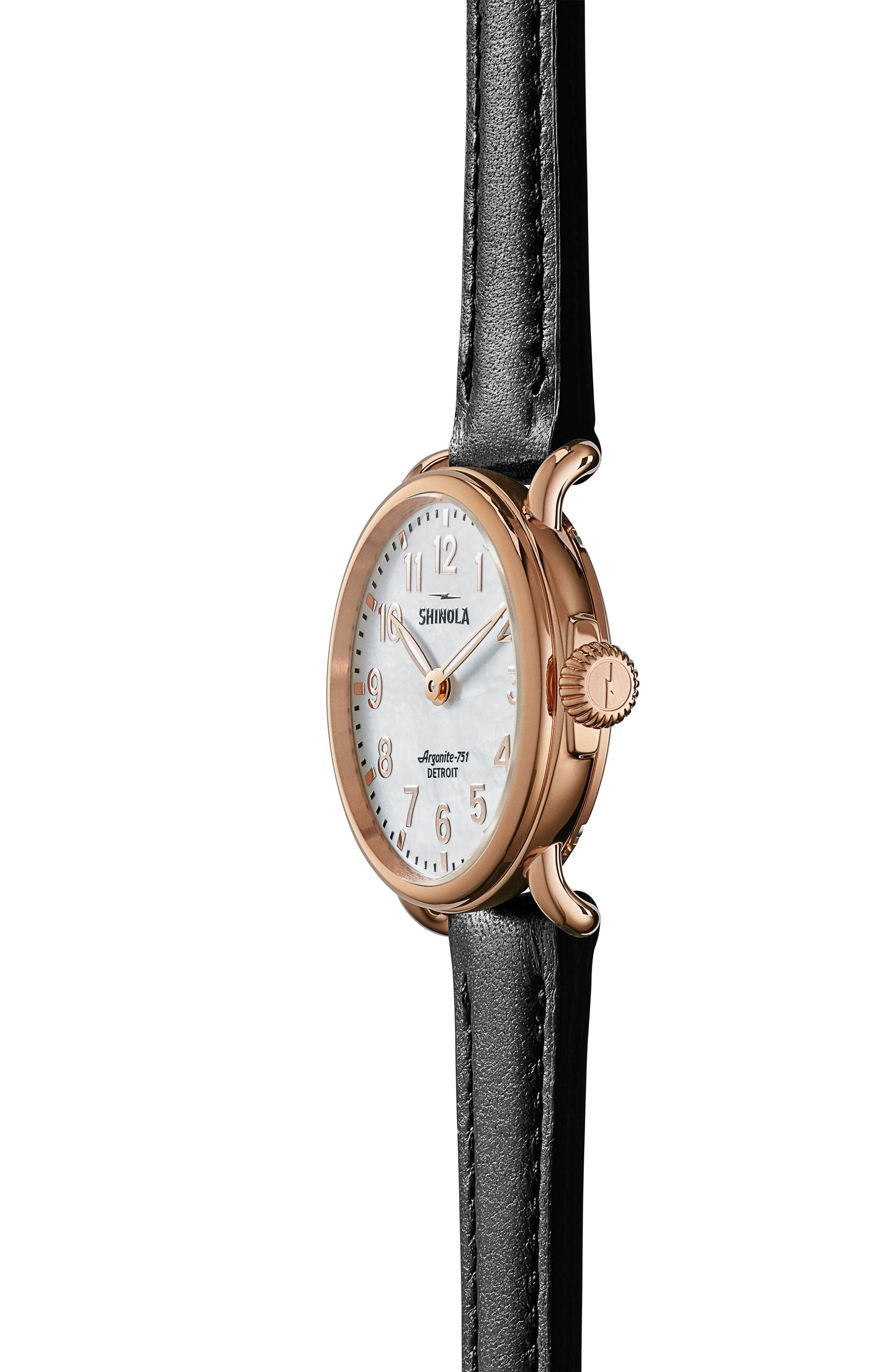 The Runwell Leather Strap Watch, 28mm,                             Alternate thumbnail 3, color,                             Black/ White Mop/ Rose Gold