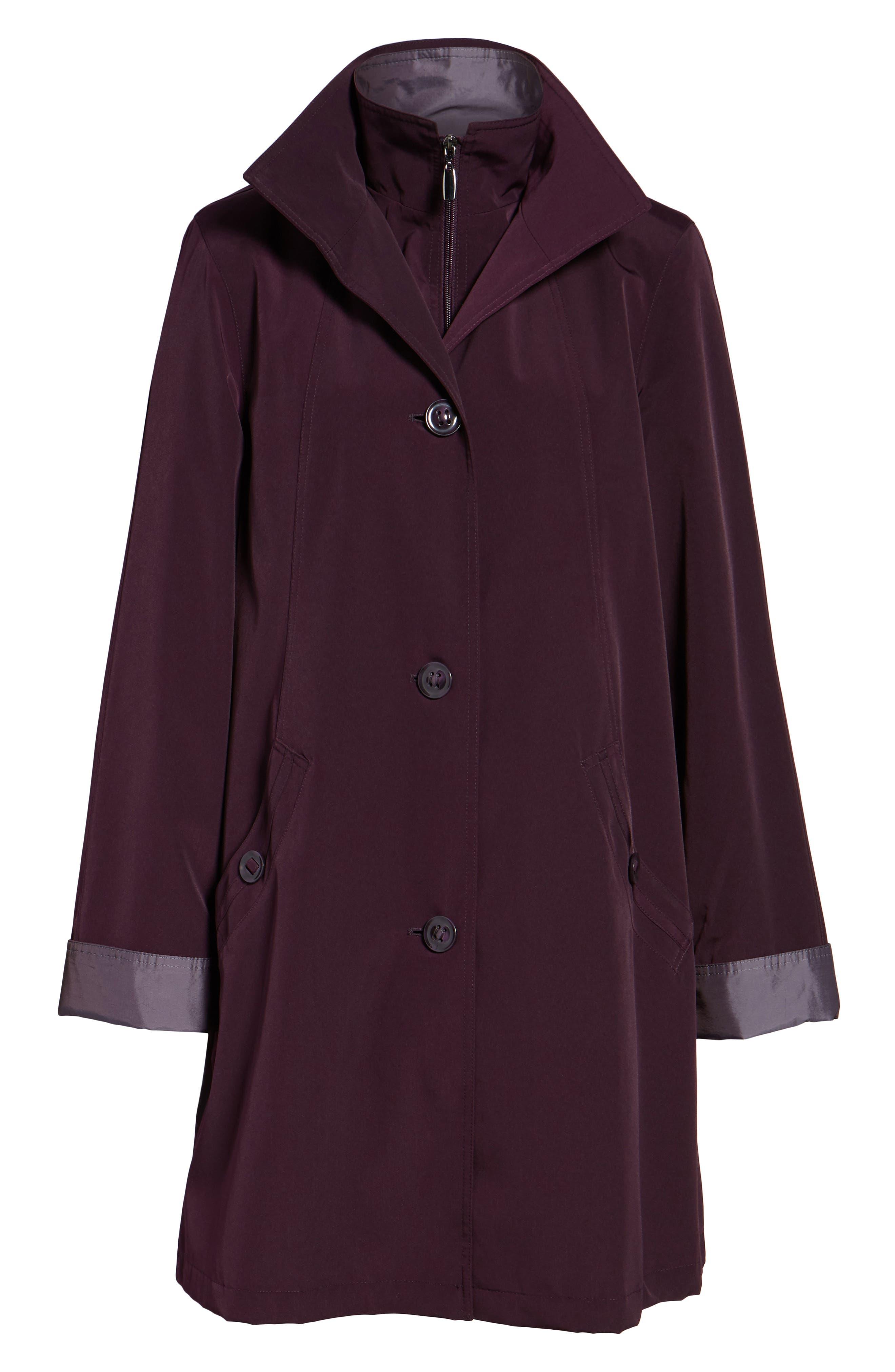 A-Line Raincoat with Detachable Hood & Liner,                         Main,                         color, Blackberry