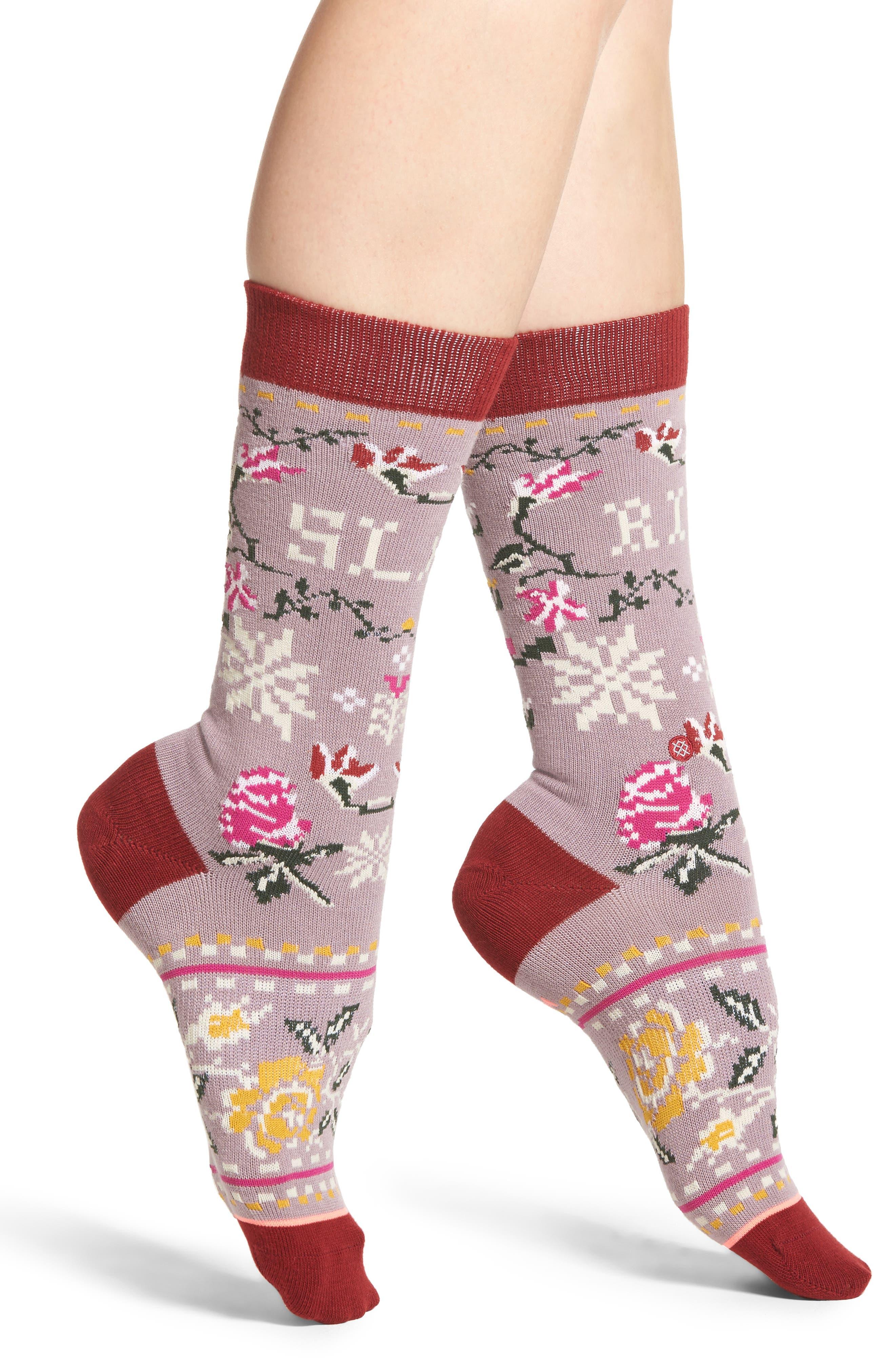 Slay Ride Tomboy Crew Socks,                         Main,                         color, Lilac Ice