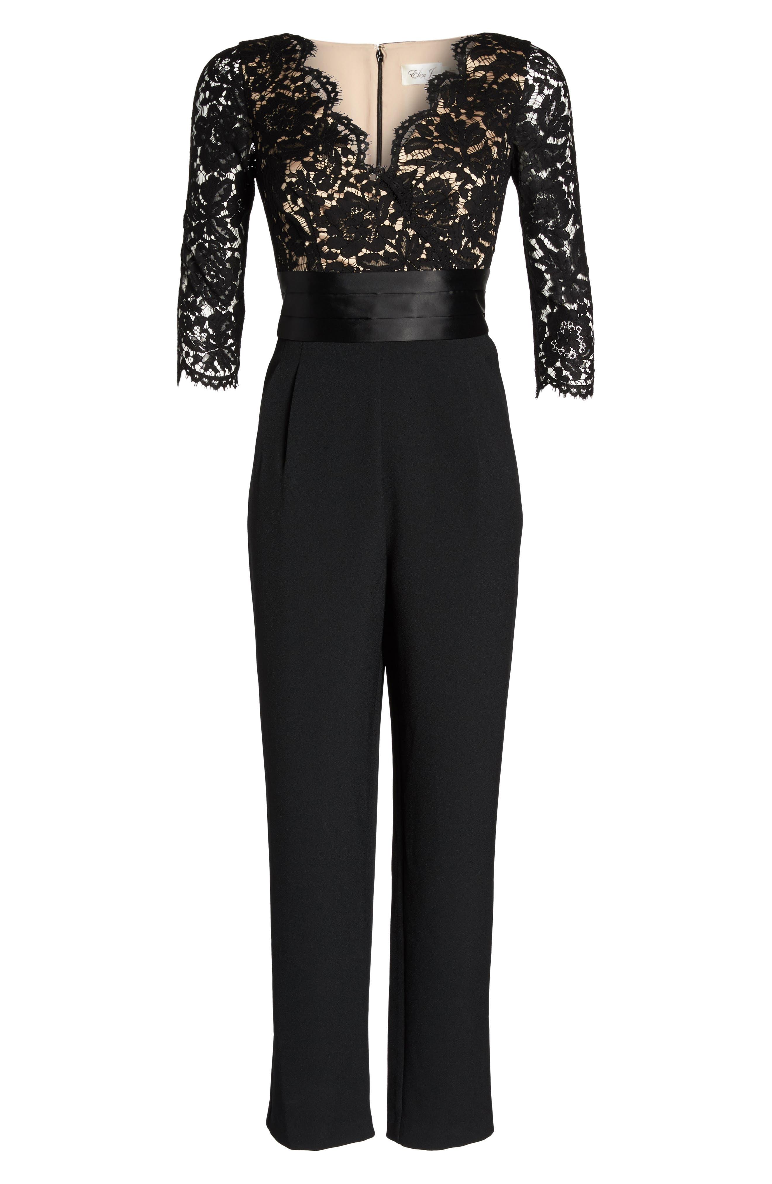 Lace Bodice Jumpsuit,                             Alternate thumbnail 6, color,                             Black