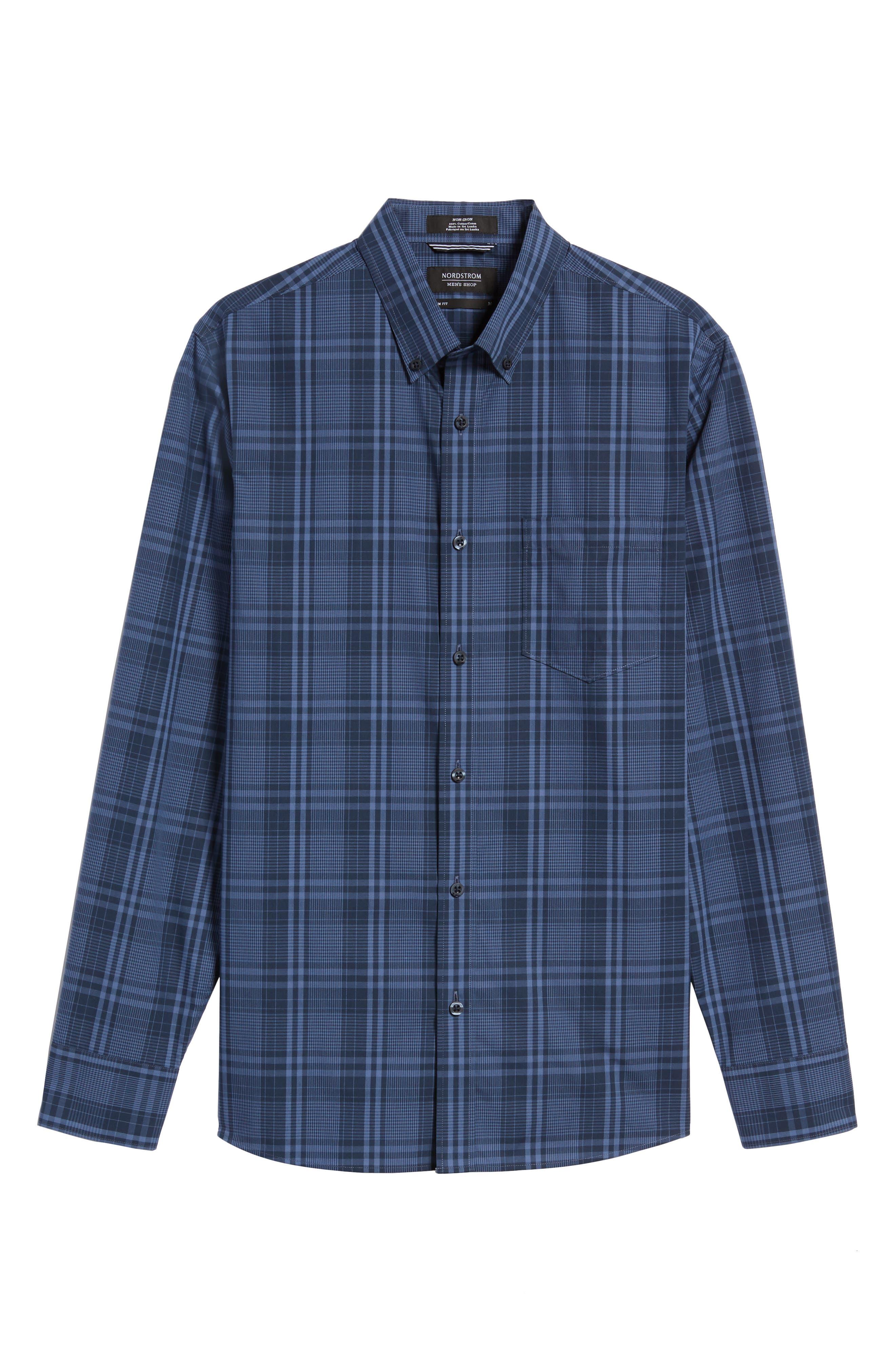 Slim Fit Plaid Sport Shirt,                             Alternate thumbnail 6, color,                             Navy Iris Blue Plaid