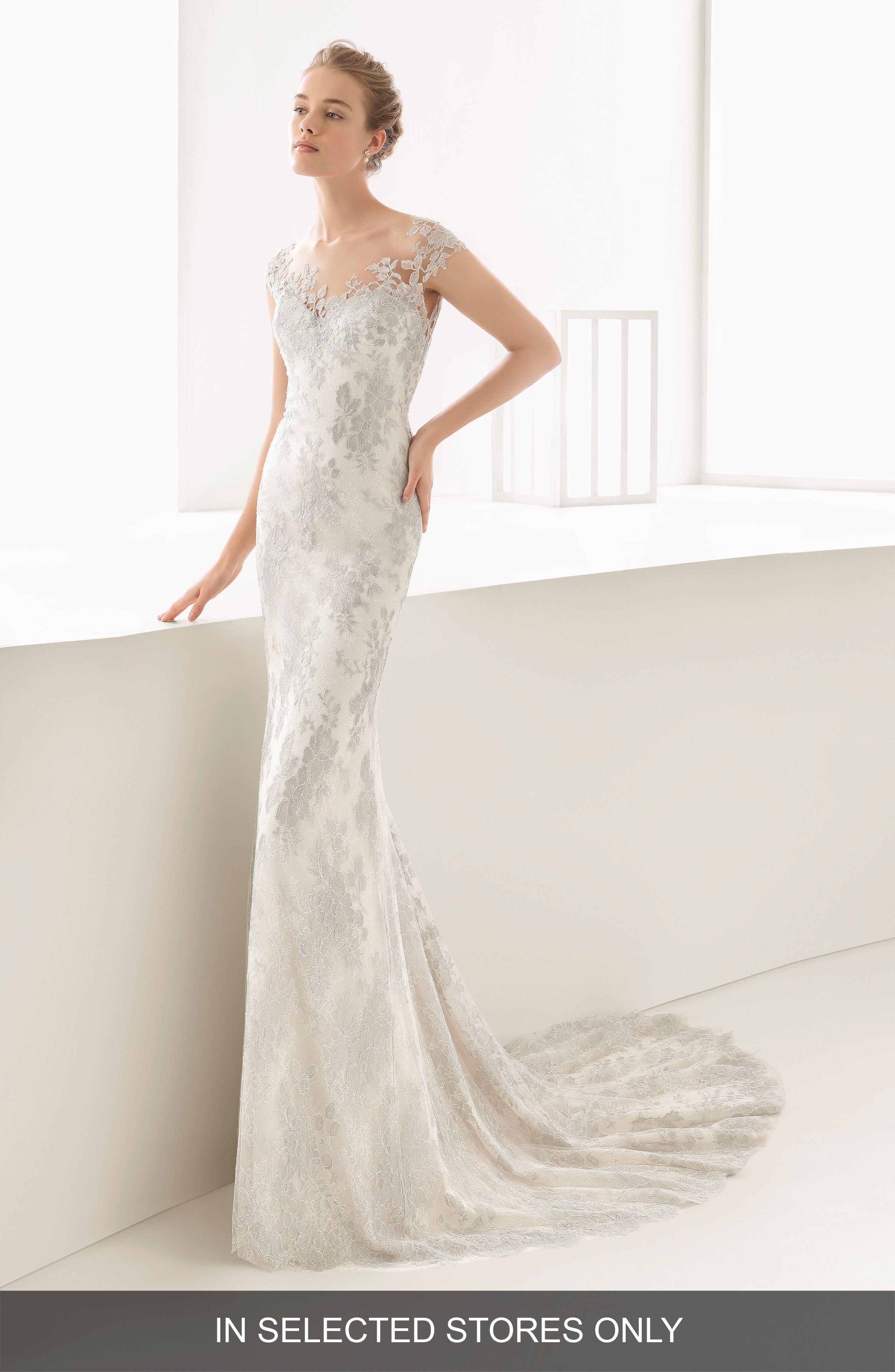 Naia Silver Chantilly Lace Mermaid Gown,                         Main,                         color, Natural