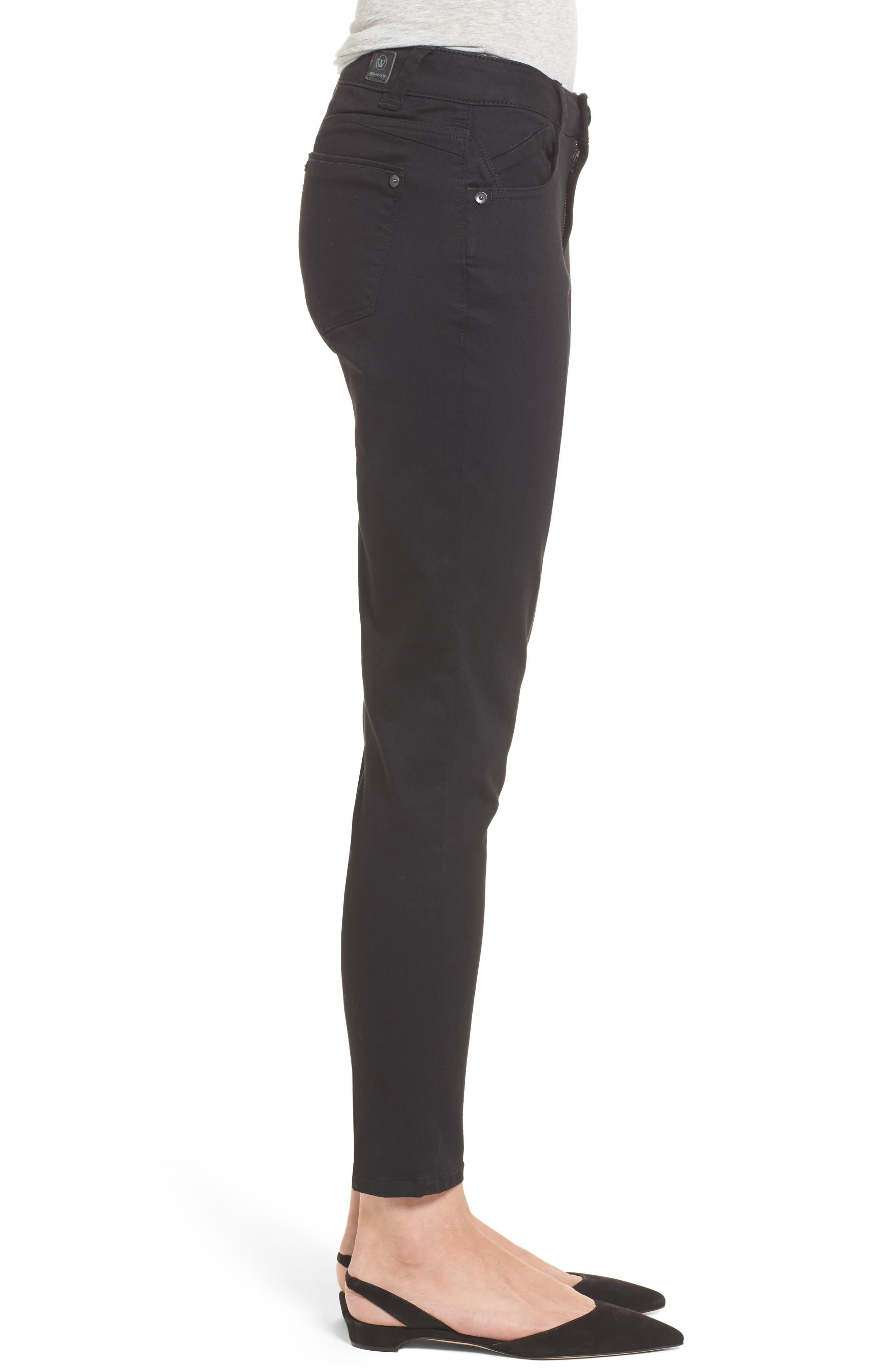 Skinny Ankle Jeans,                             Alternate thumbnail 3, color,                             Black