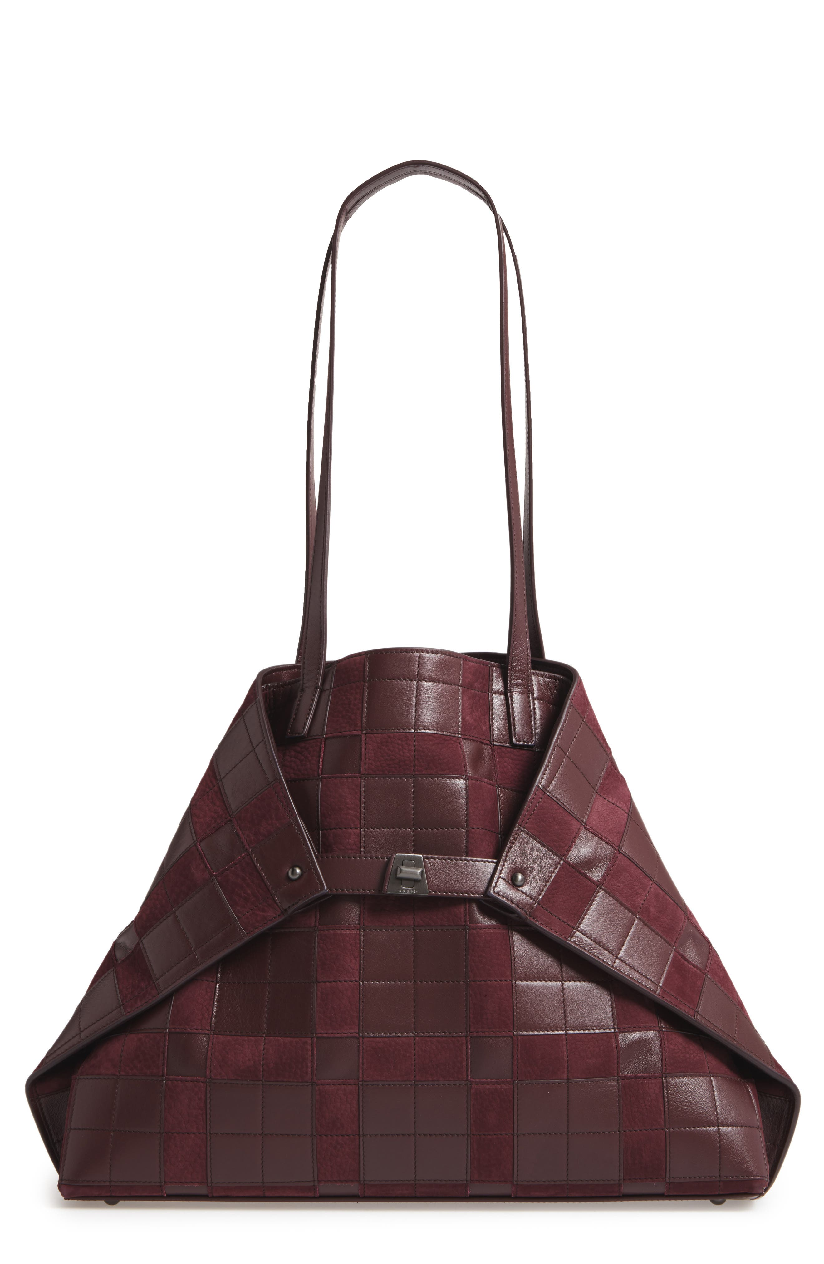 Medium AI Leather Shoulder Tote,                         Main,                         color, Burgundy