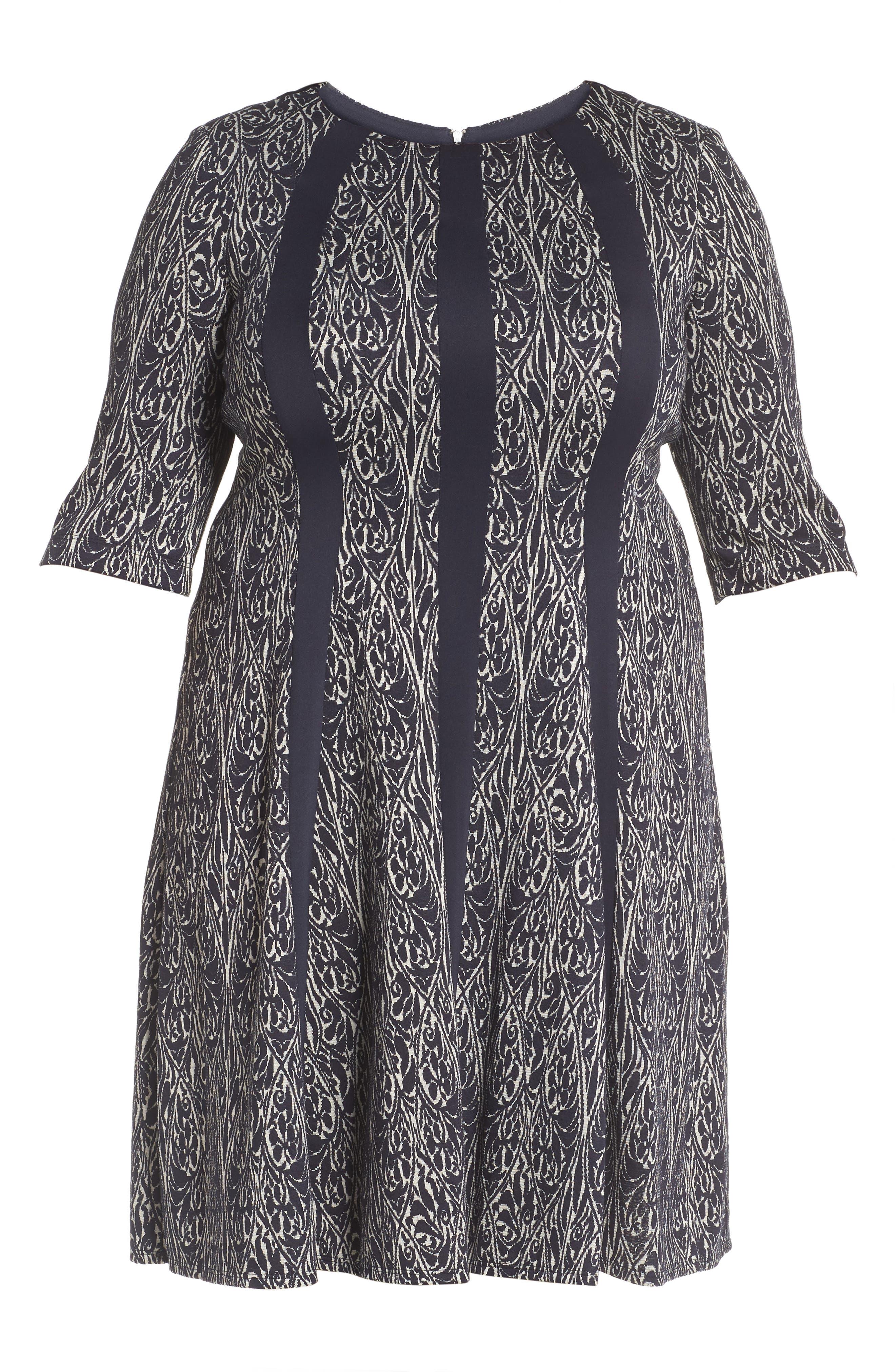 Jacquard Knit A-Line Dress,                             Alternate thumbnail 6, color,                             Navy/ Ivory