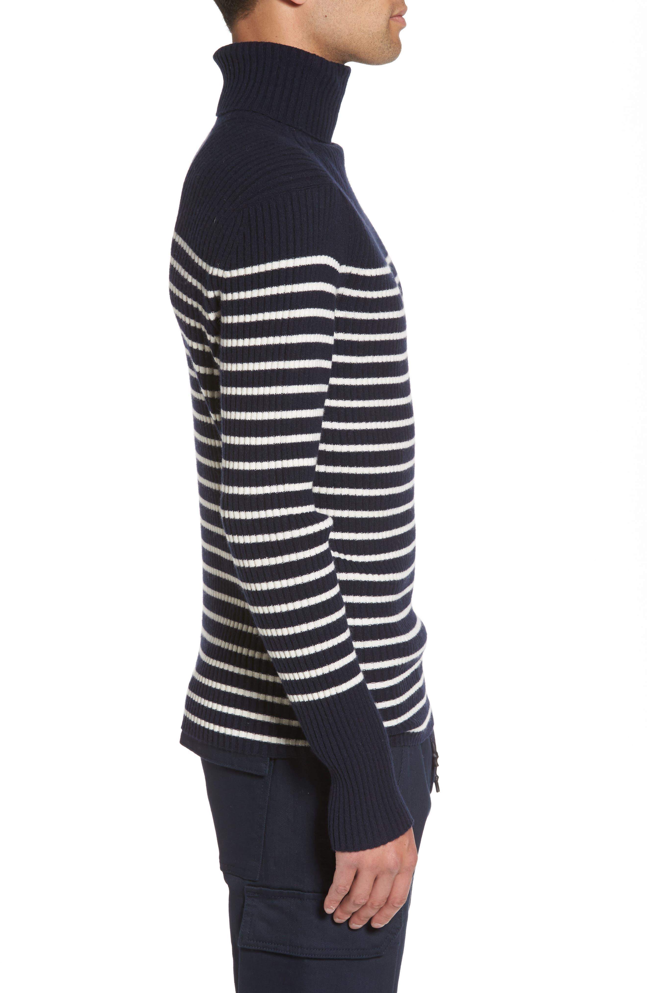 Regular Fit Breton Stripe Cashmere Turtleneck Sweater,                             Alternate thumbnail 3, color,                             Coastal/ Breeze