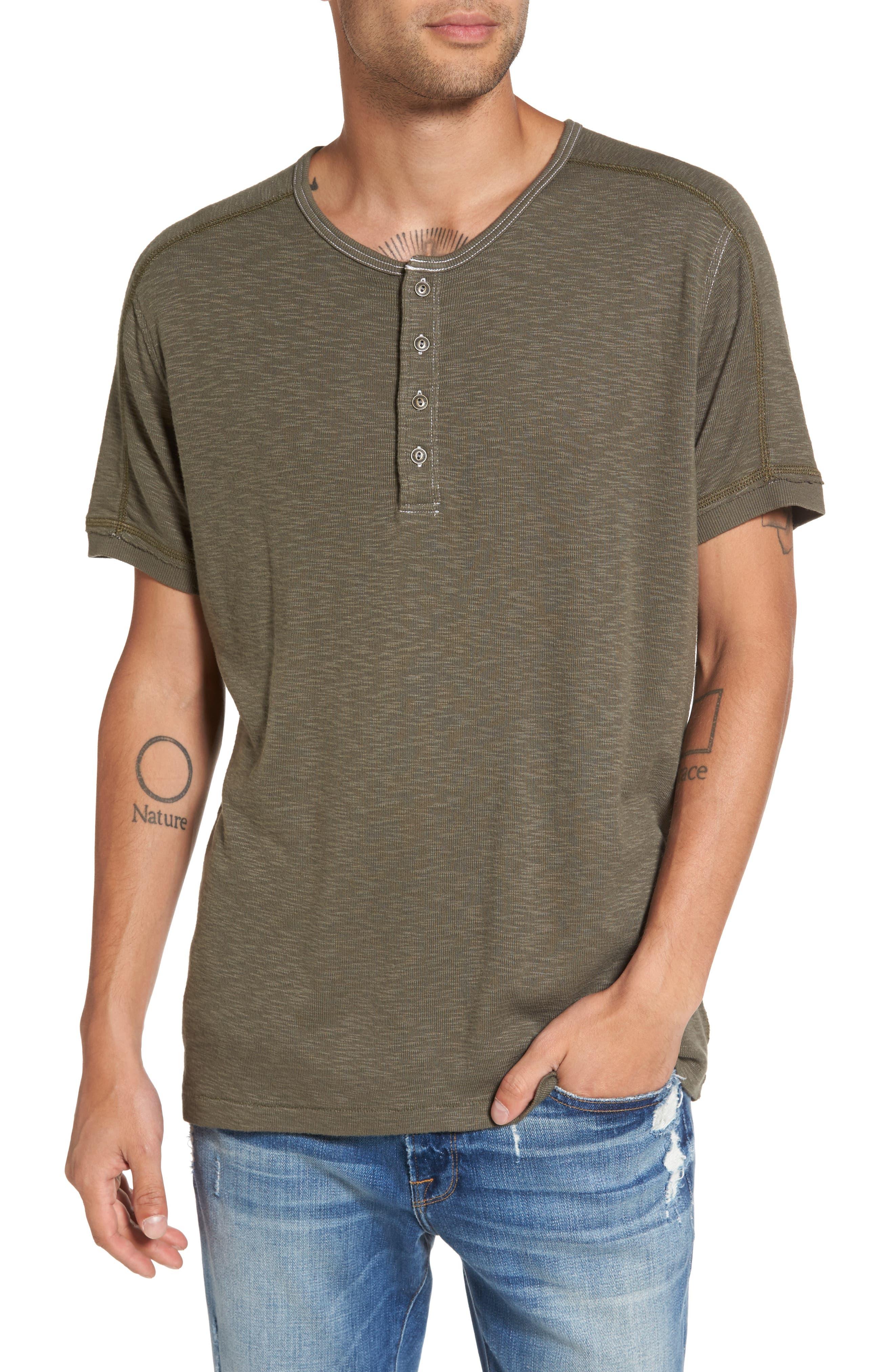Short Sleeve Slub Henley,                         Main,                         color, Olive Ivy