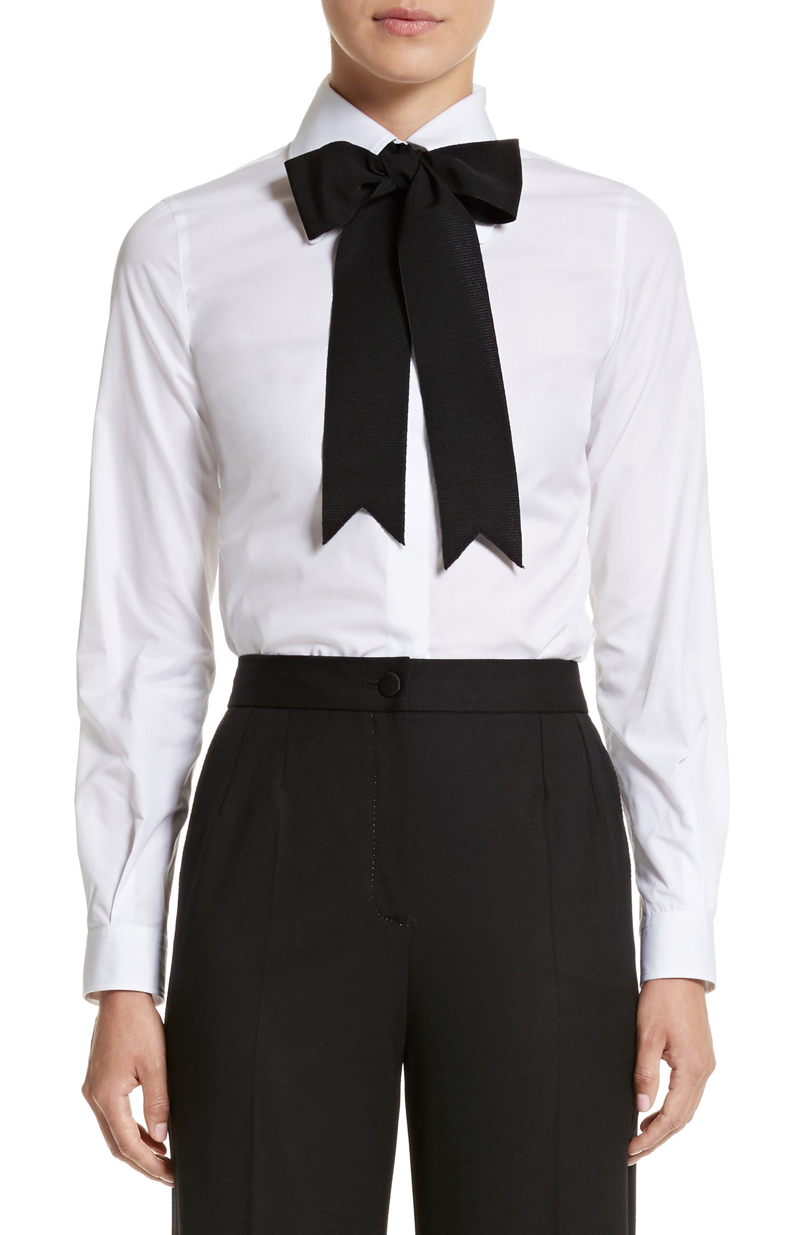 Cotton Poplin Blouse with Bow,                         Main,                         color, White