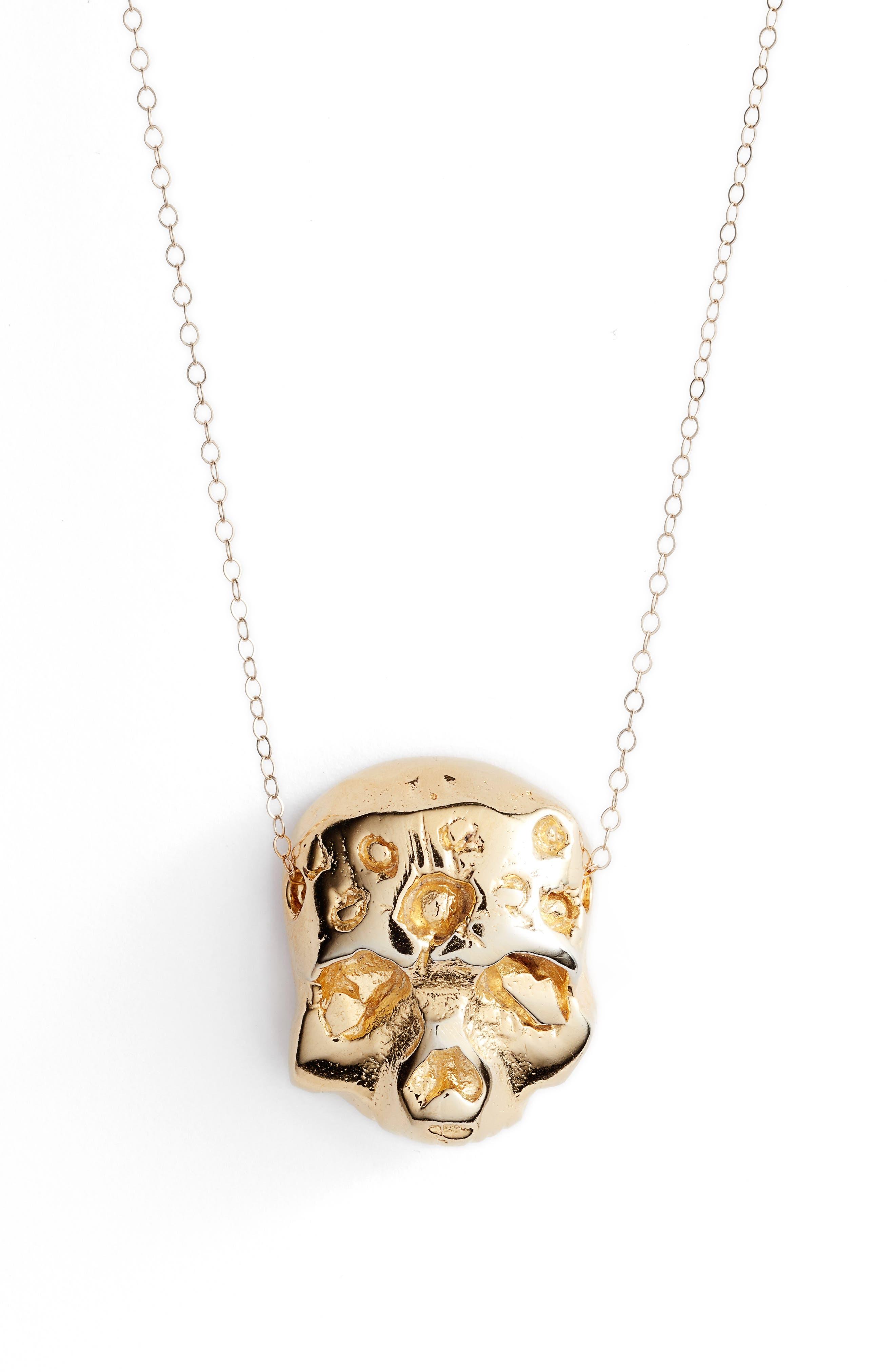 Zombie Pendant Necklace,                         Main,                         color, Gold