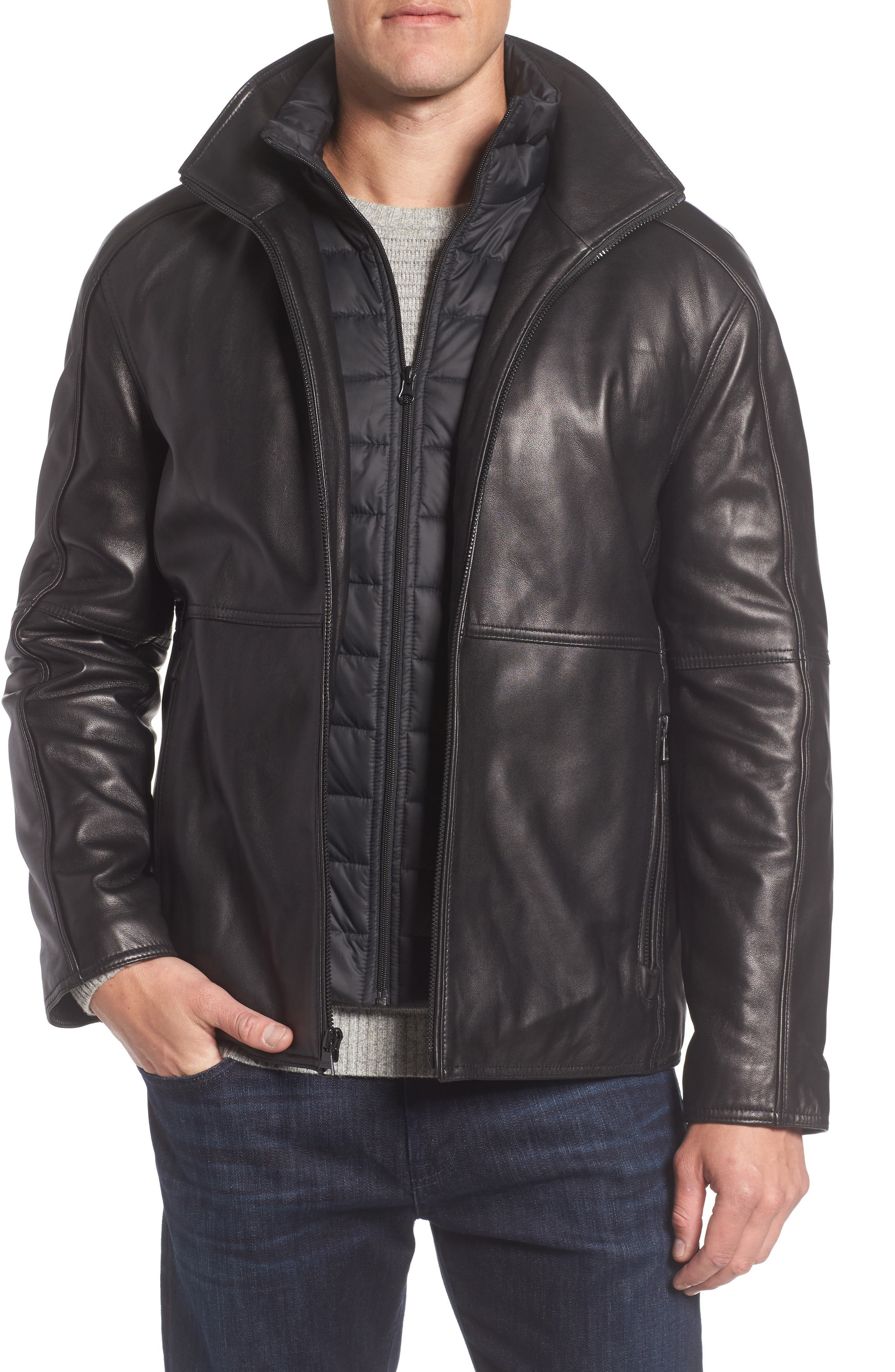 Leather Jacket with Quilted Insert,                         Main,                         color, Black