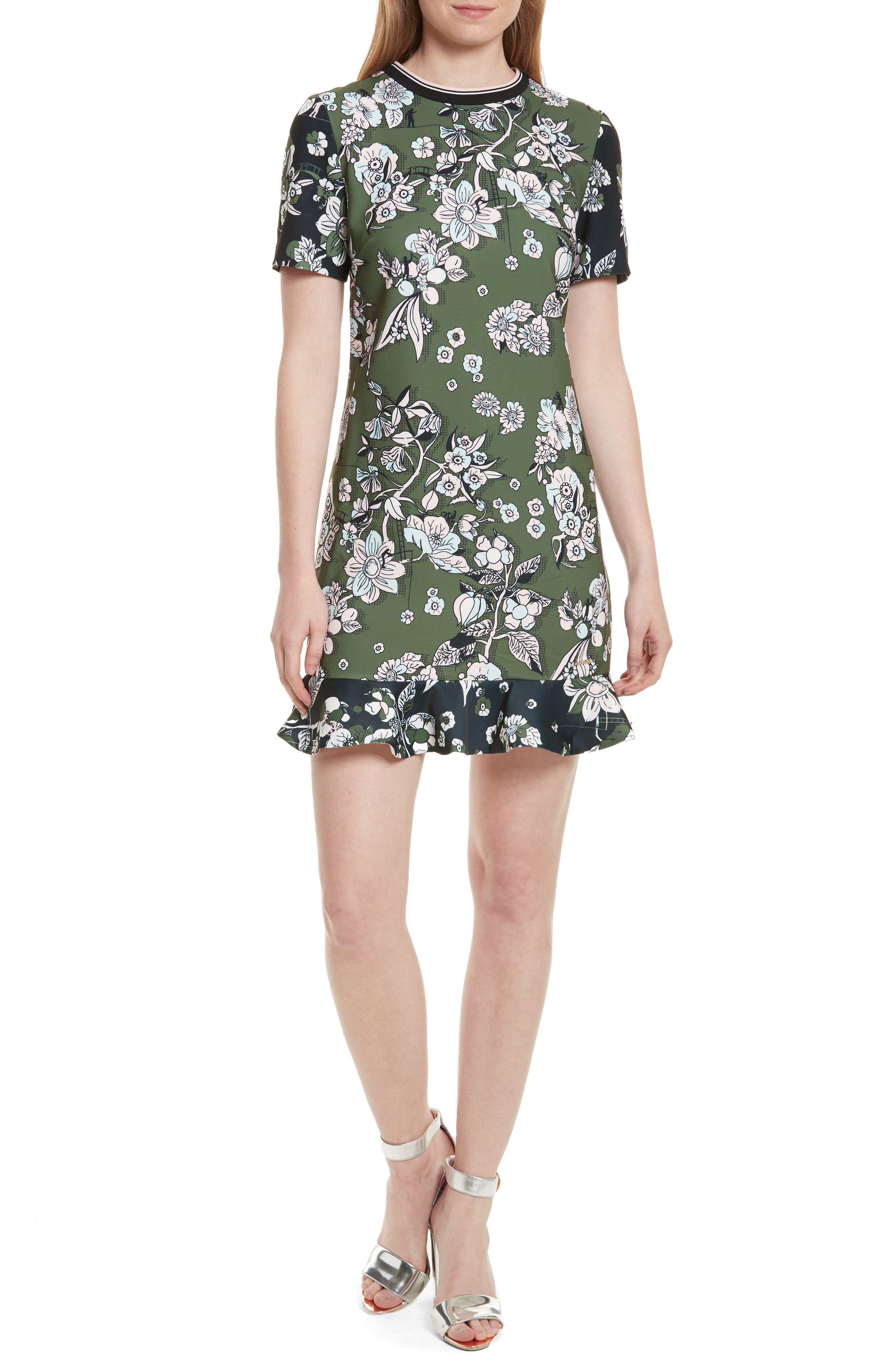Hoster Floral Print Ruffle Hem Dress,                         Main,                         color, Green