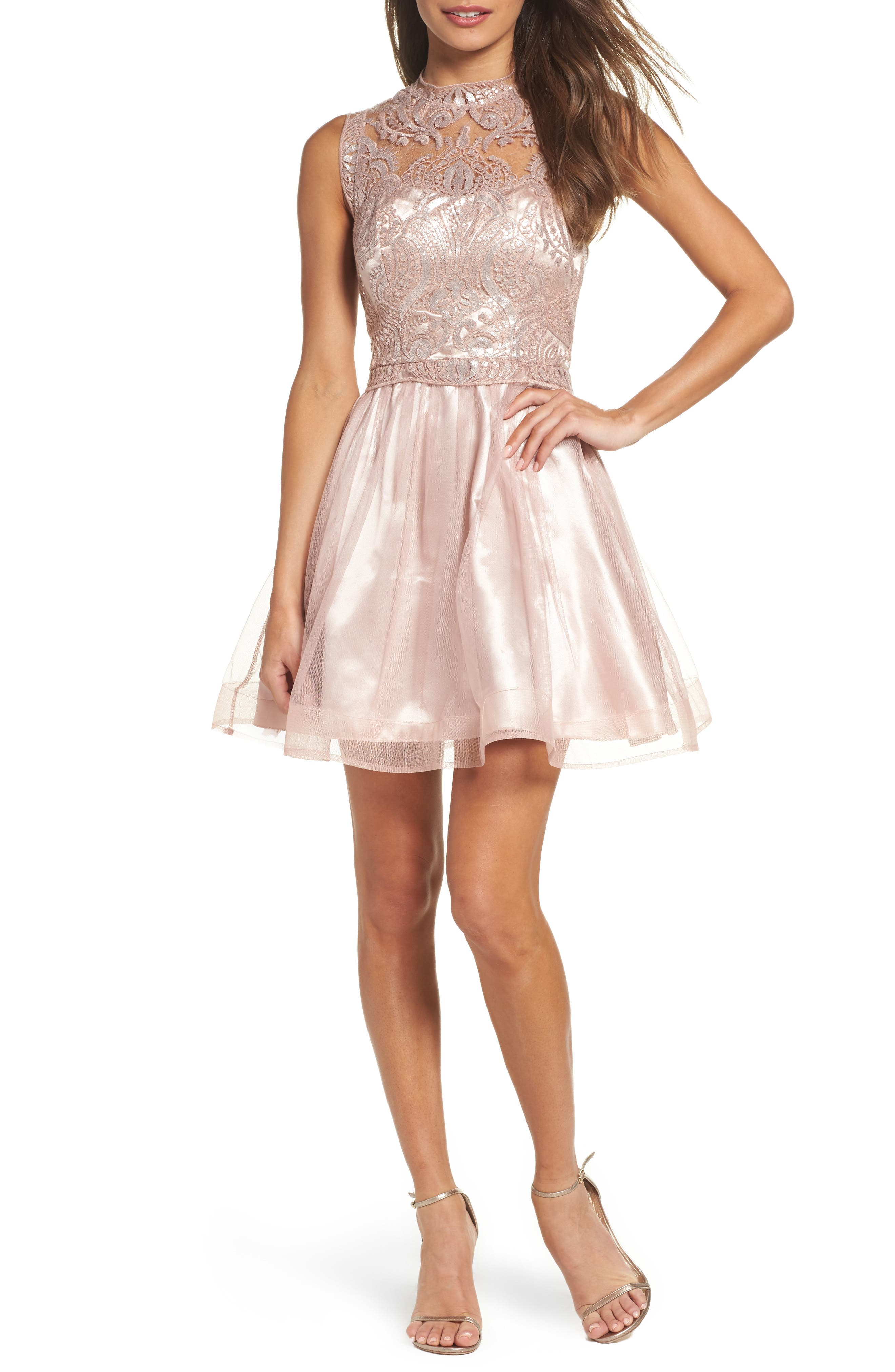 Sequin Hearts Lace Illusion Fit & Flare Dress