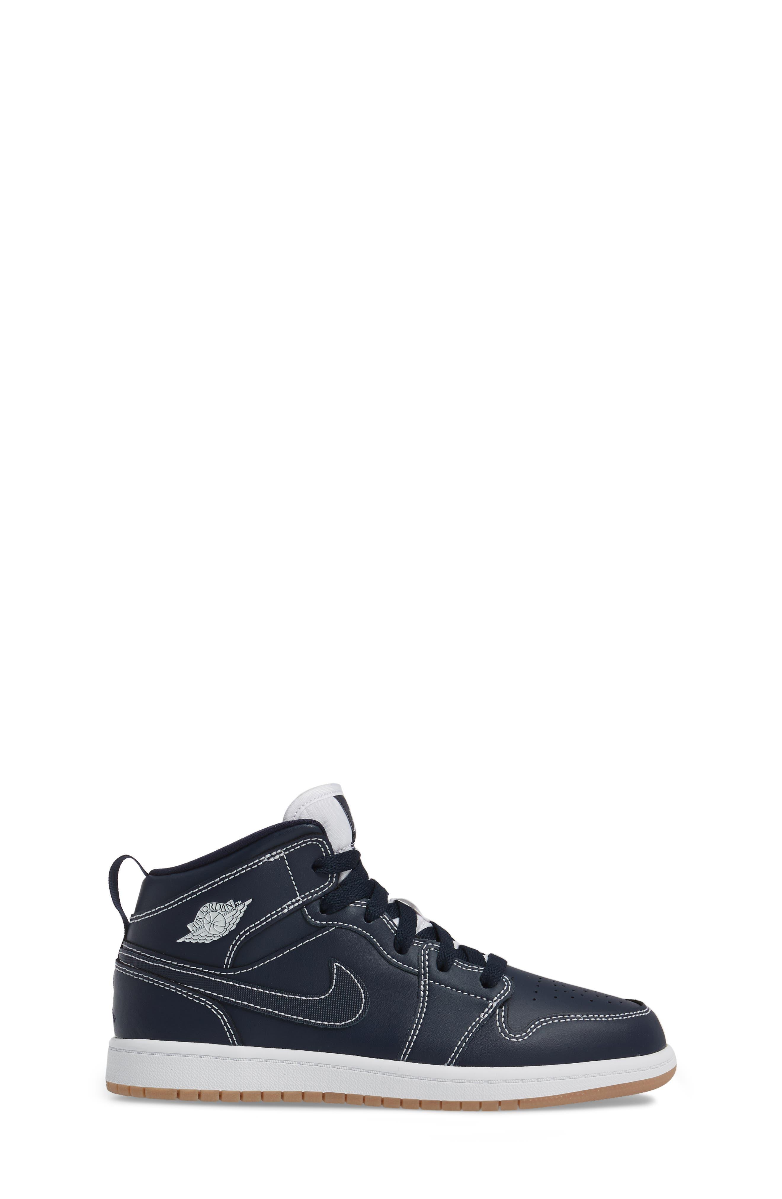 'Air Jordan 1' Mid Sneaker,                             Alternate thumbnail 3, color,                             Obsidian/ White