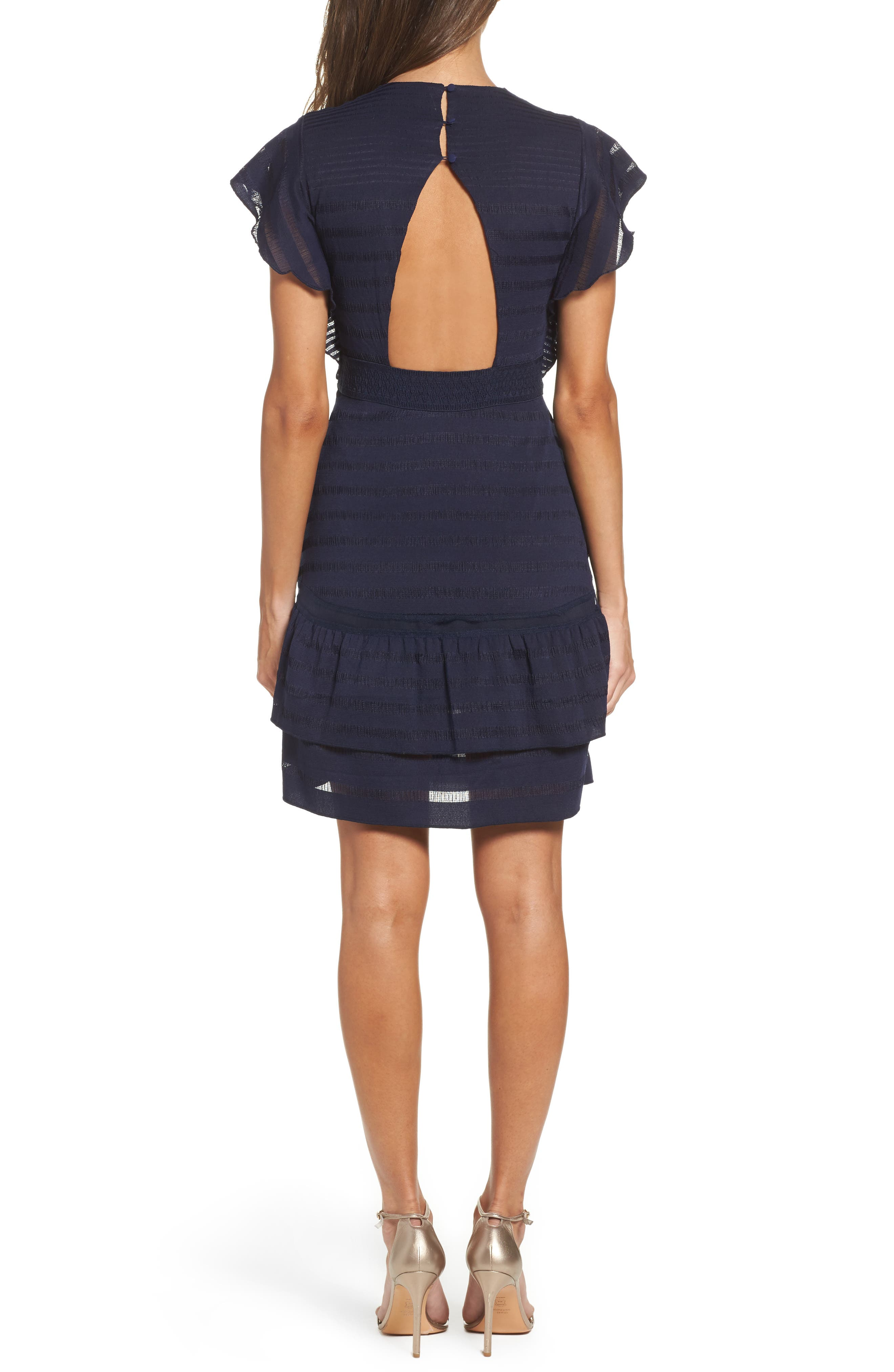 Elsie Ruffle Sleeve Fit & Flare Dress,                             Alternate thumbnail 2, color,                             Navy