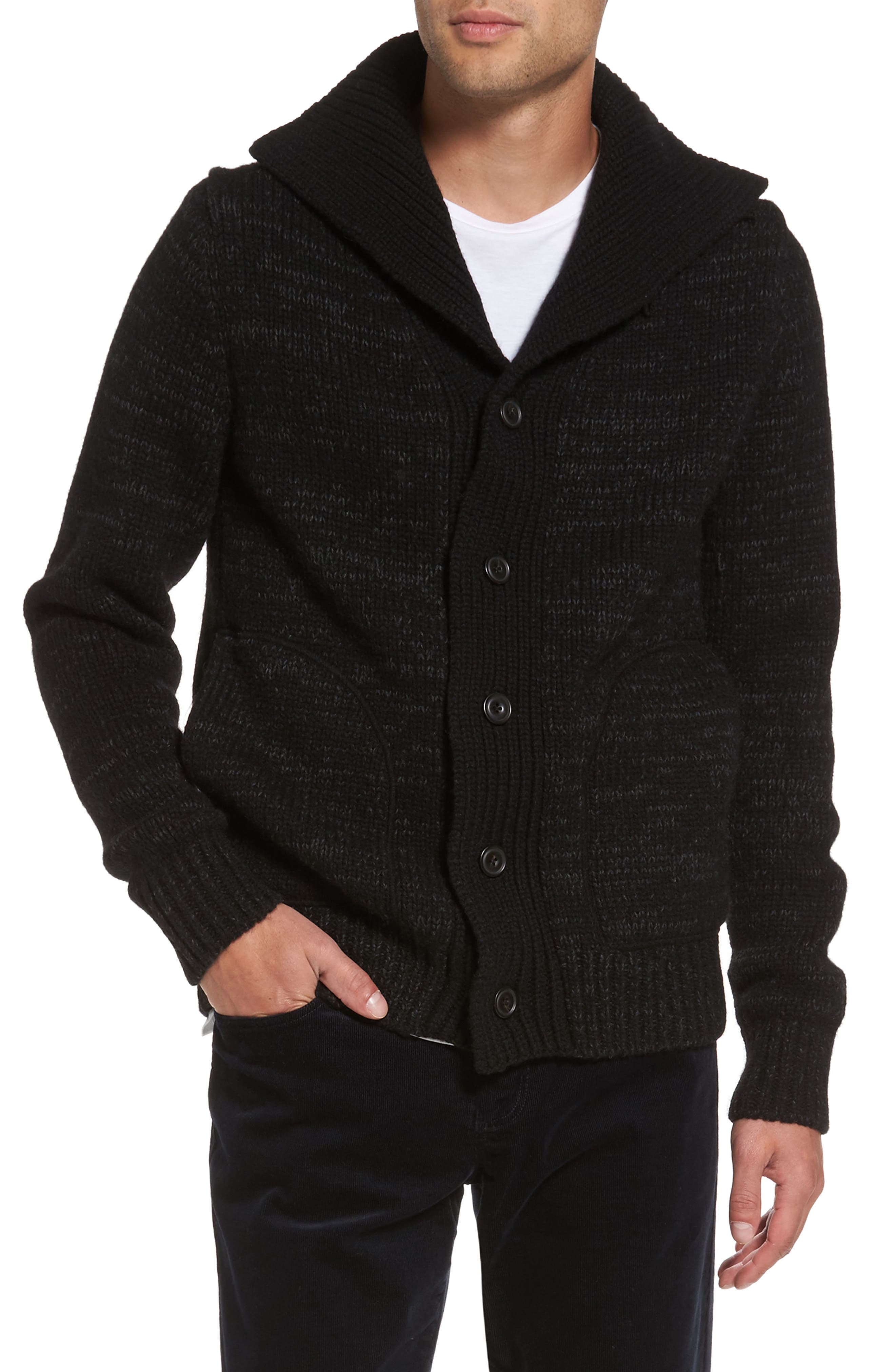 Marled Stand Collar Cardigan,                         Main,                         color, Black/ Charcoal