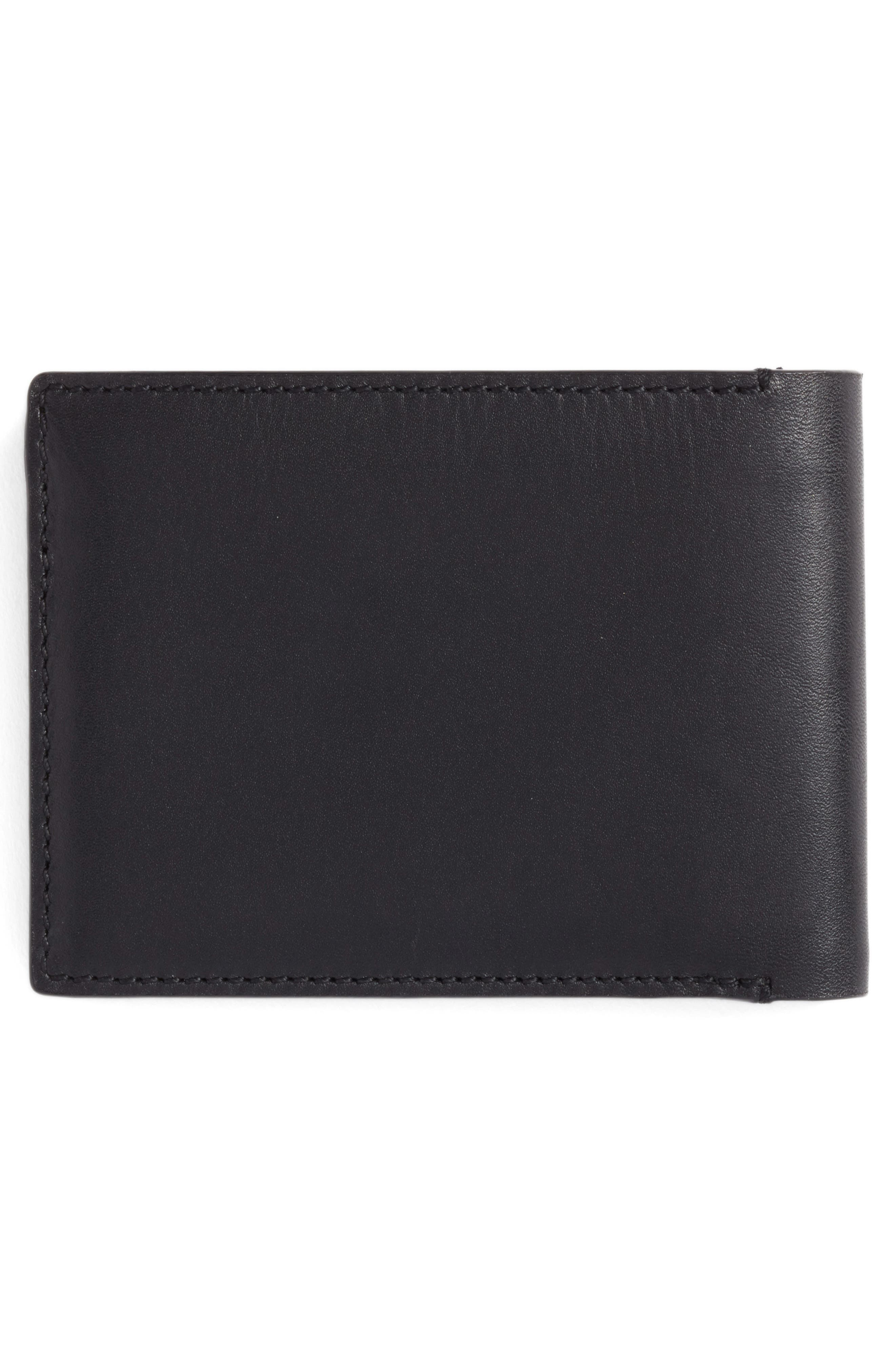 Bifold Leather Wallet with Pass Case,                             Alternate thumbnail 3, color,                             Black