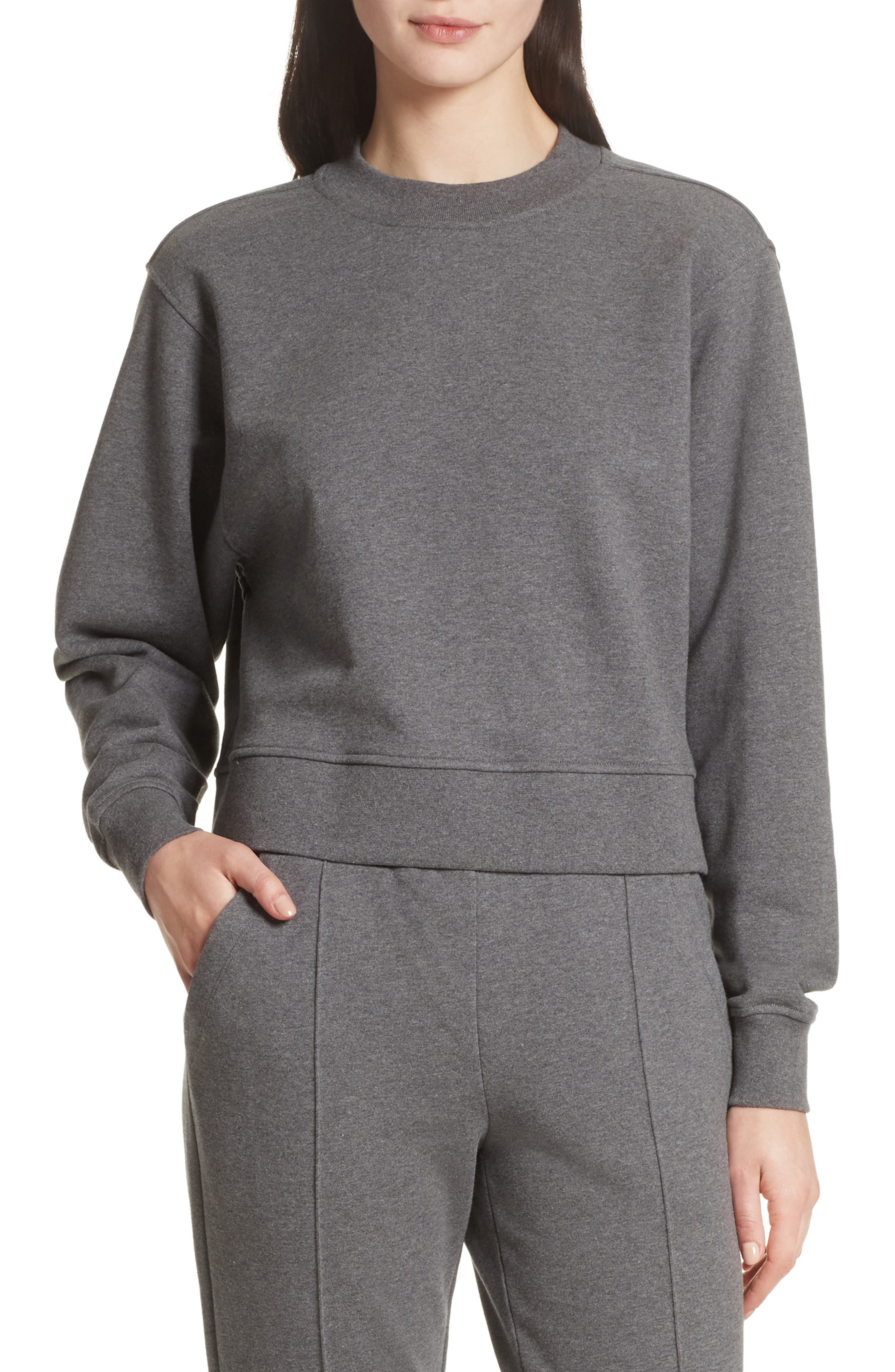 French Terry Tie Back Sweatshirt,                         Main,                         color, Heather Grey