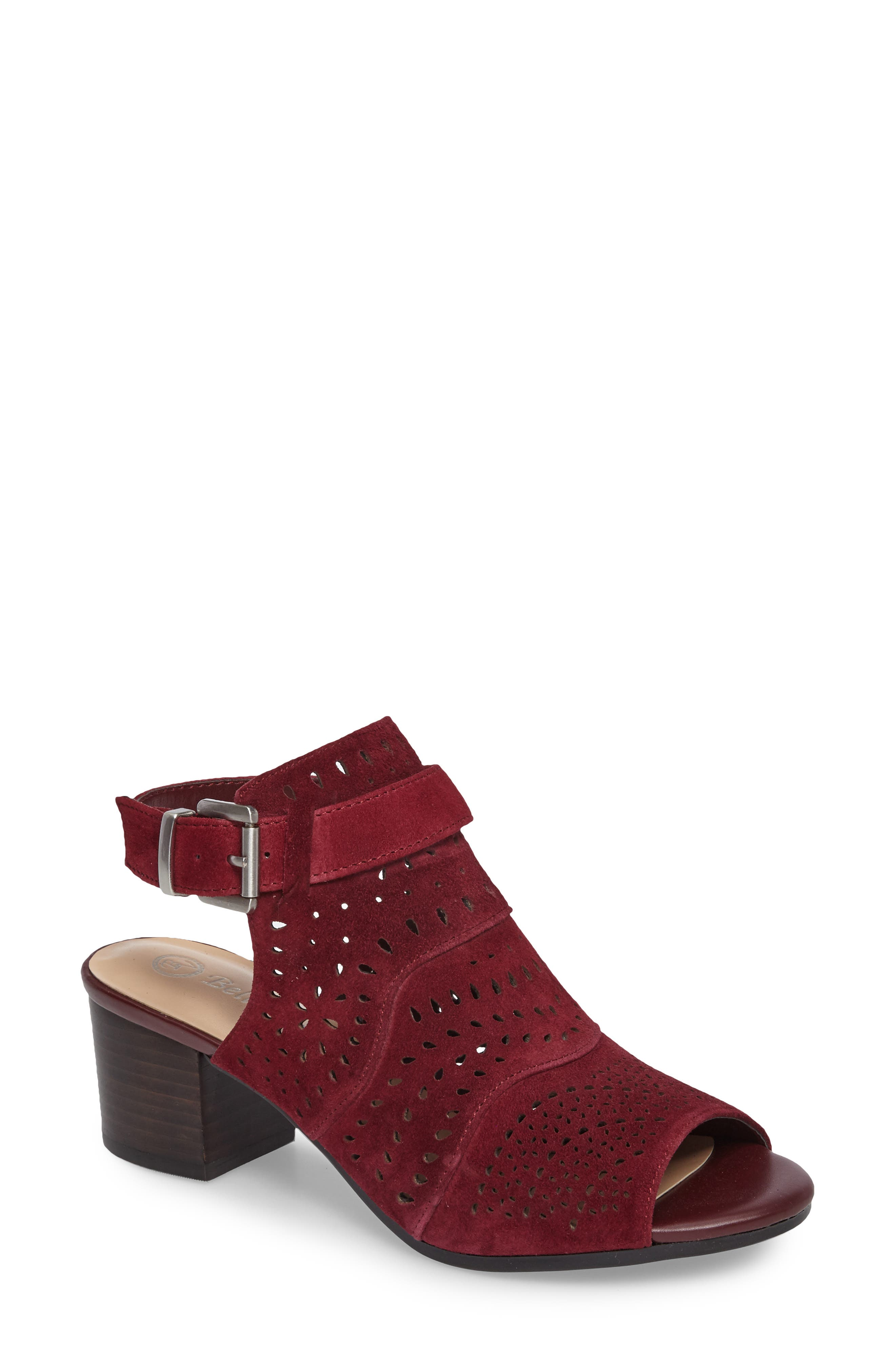 Fonda Perforated Sandal,                             Main thumbnail 1, color,                             Burgundy Suede