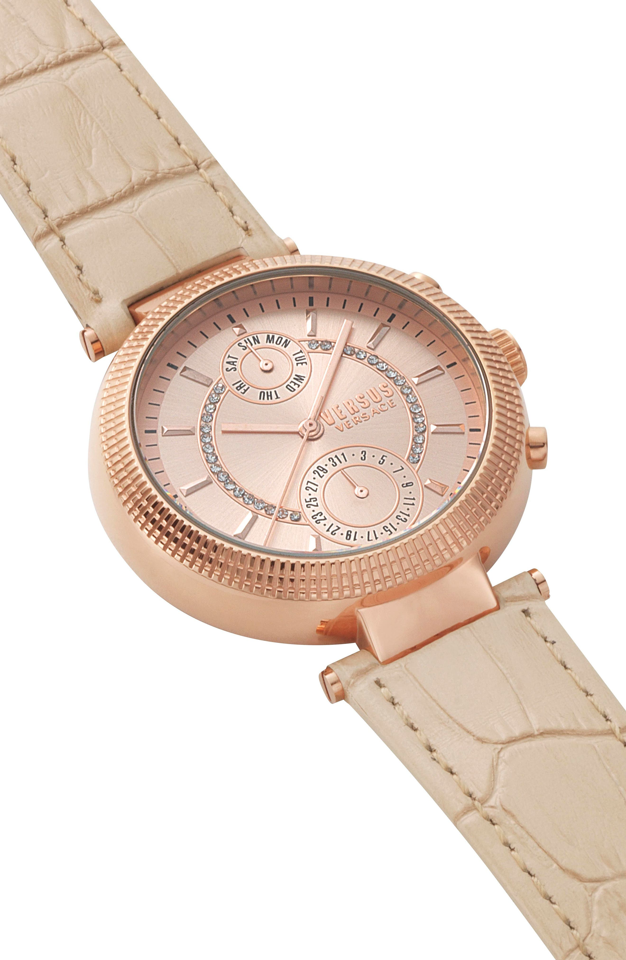 Versus by Versace Star Ferry Chronograph Bracelet Watch, 38mm,                             Alternate thumbnail 3, color,                             Beige/ Rose Gold
