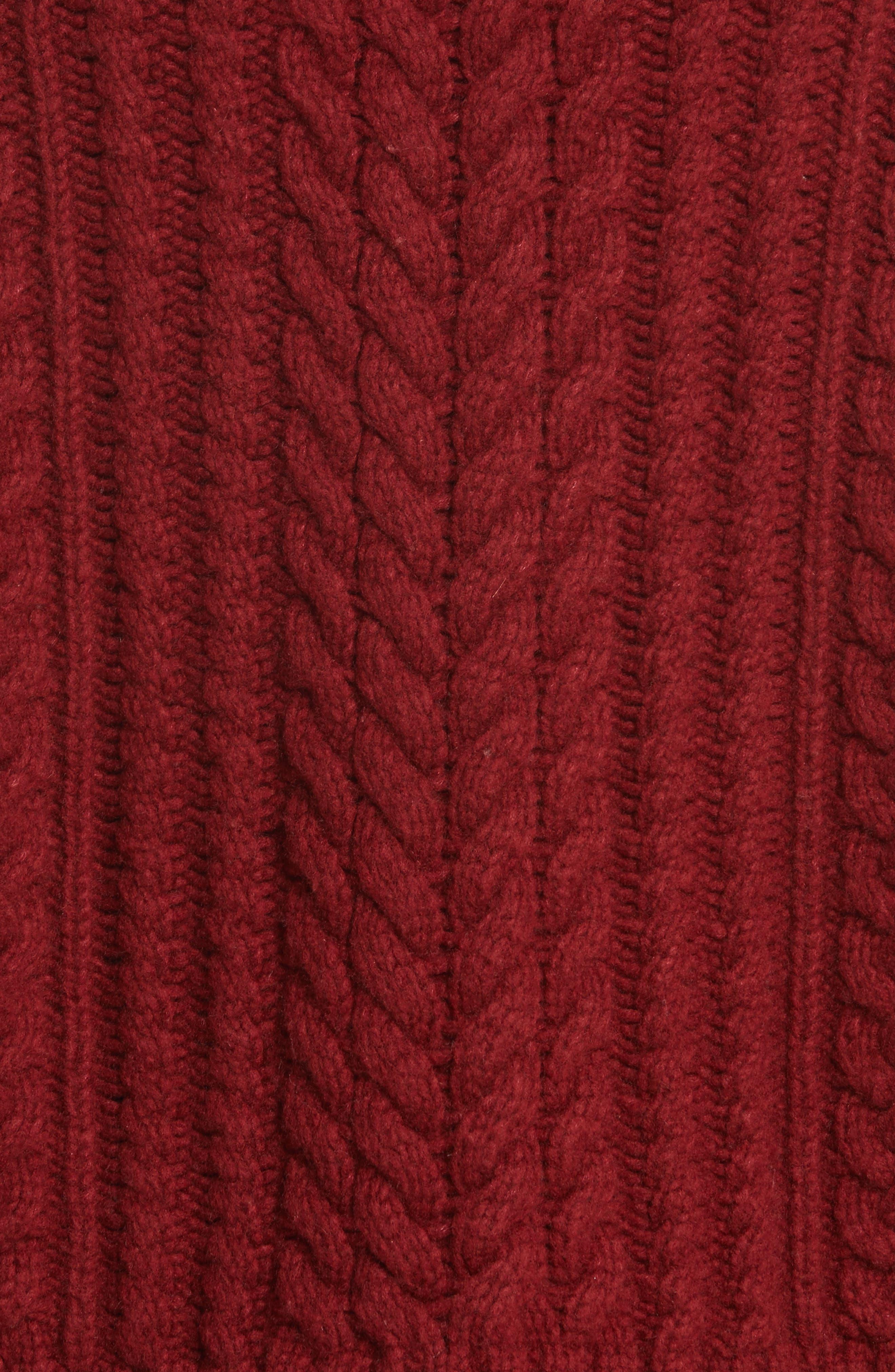 Tobin Cable Knit Crop Turtleneck Sweater,                             Alternate thumbnail 5, color,                             Bordeaux