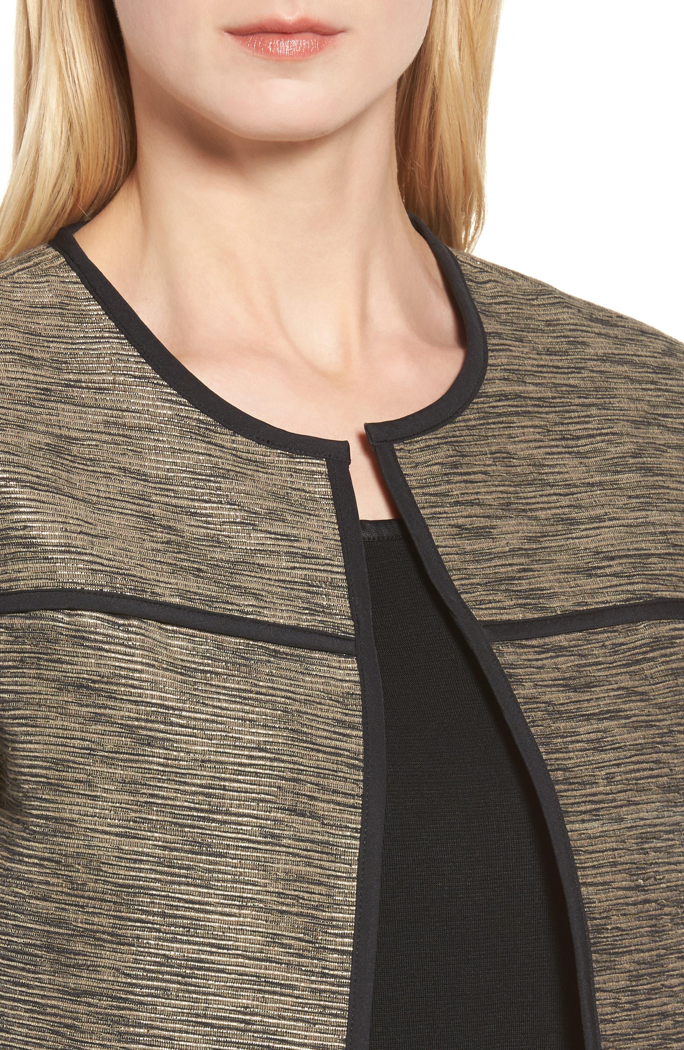 Metallic Tweed Jacket,                             Alternate thumbnail 4, color,                             Ash/ Black/ Cat Eye
