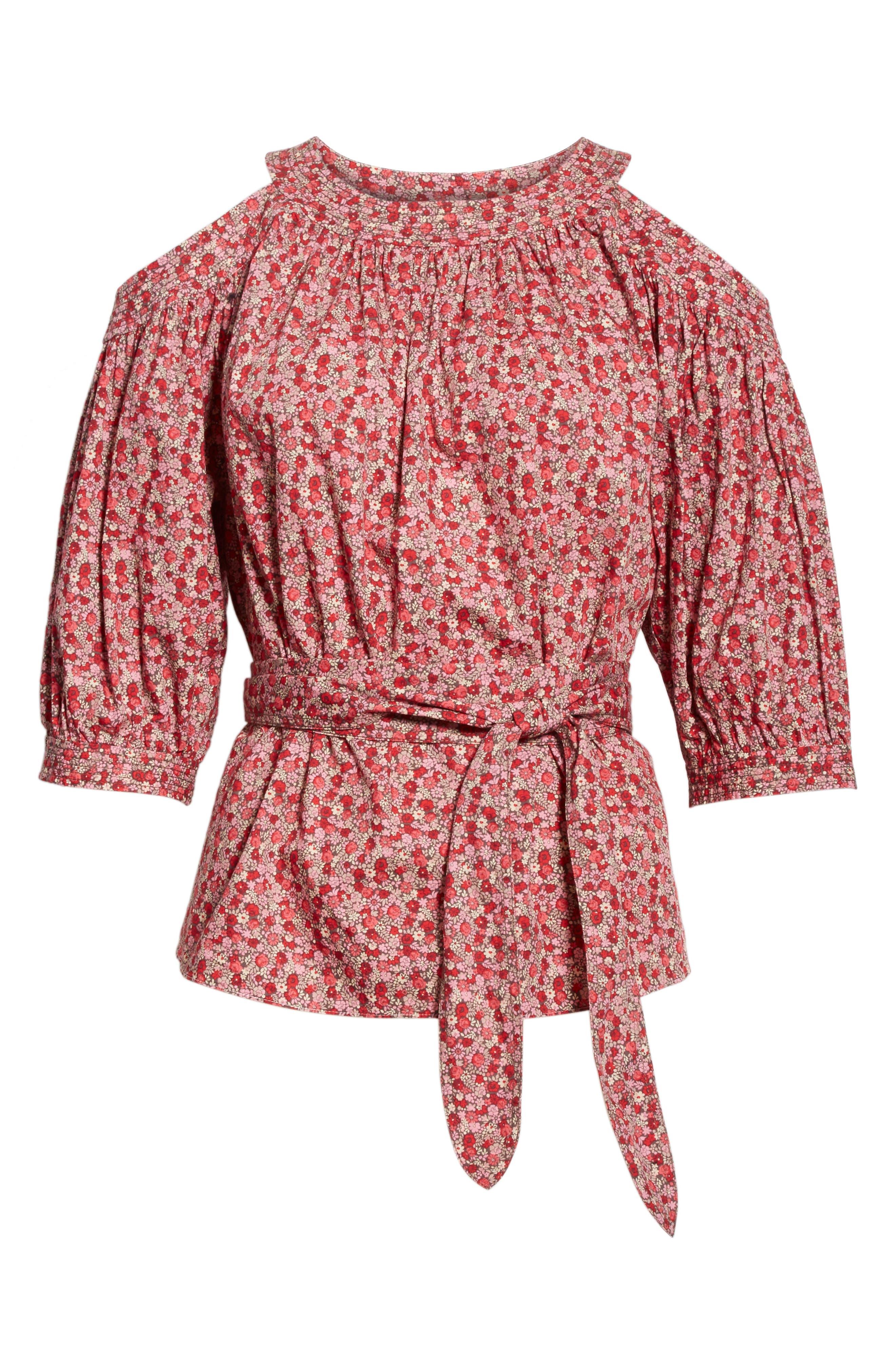 Alternate Image 6  - La Vie Rebecca Taylor Petite Rose Cold Shoulder Top