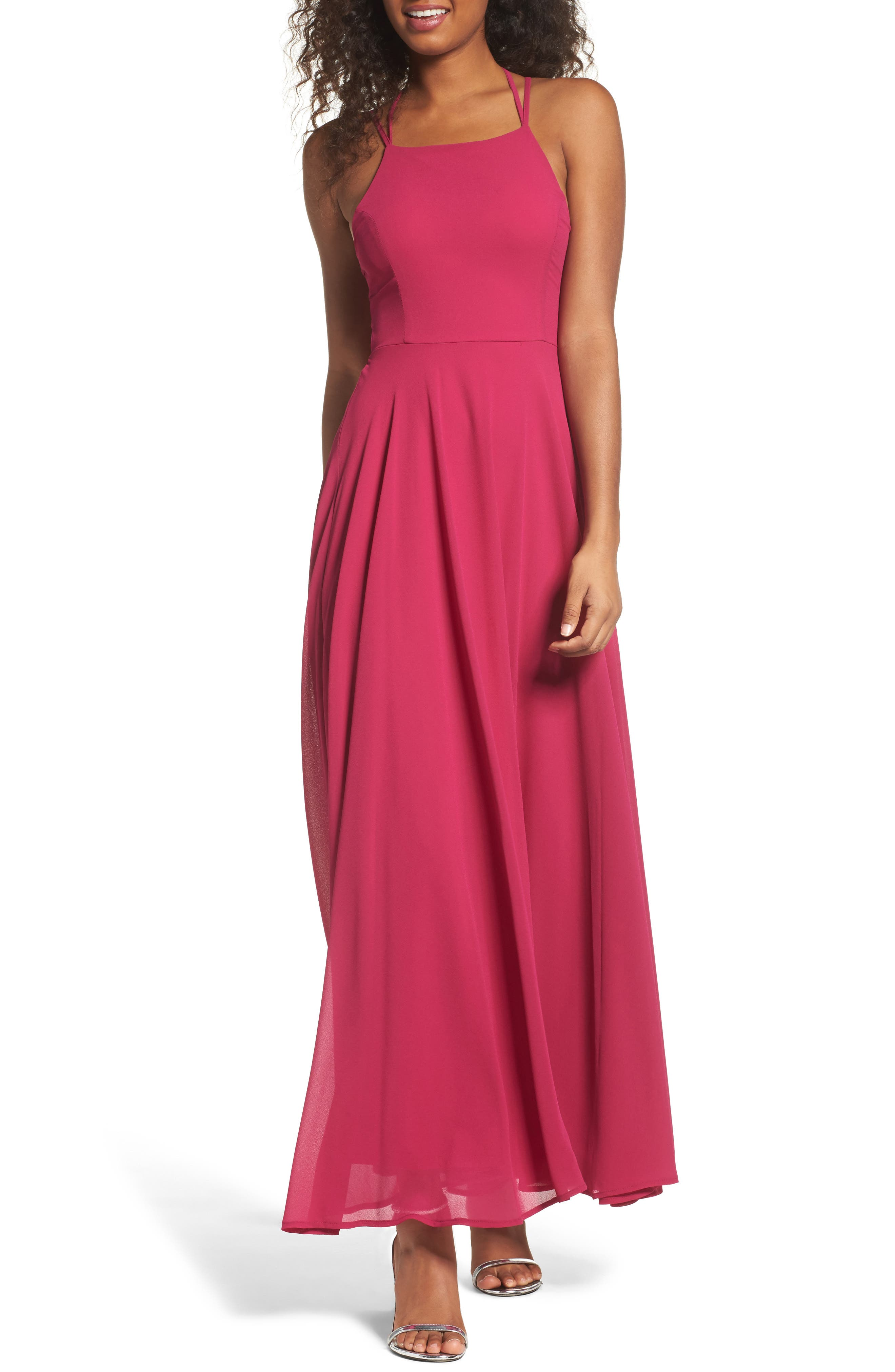 Strappy To Be Here Lace-Up Back Gown,                         Main,                         color, Magenta