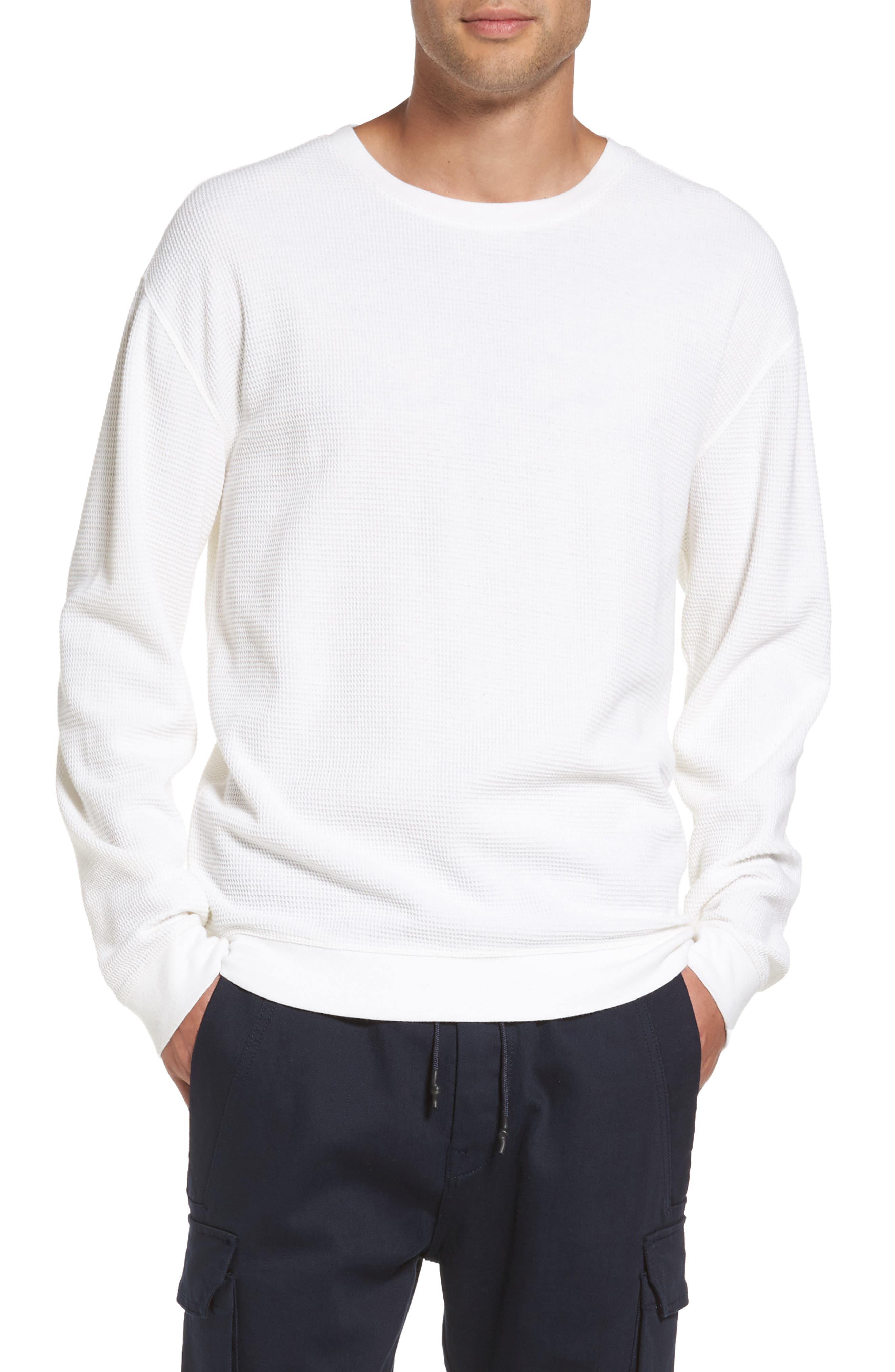 Waffle Knit Sweatshirt,                         Main,                         color, White