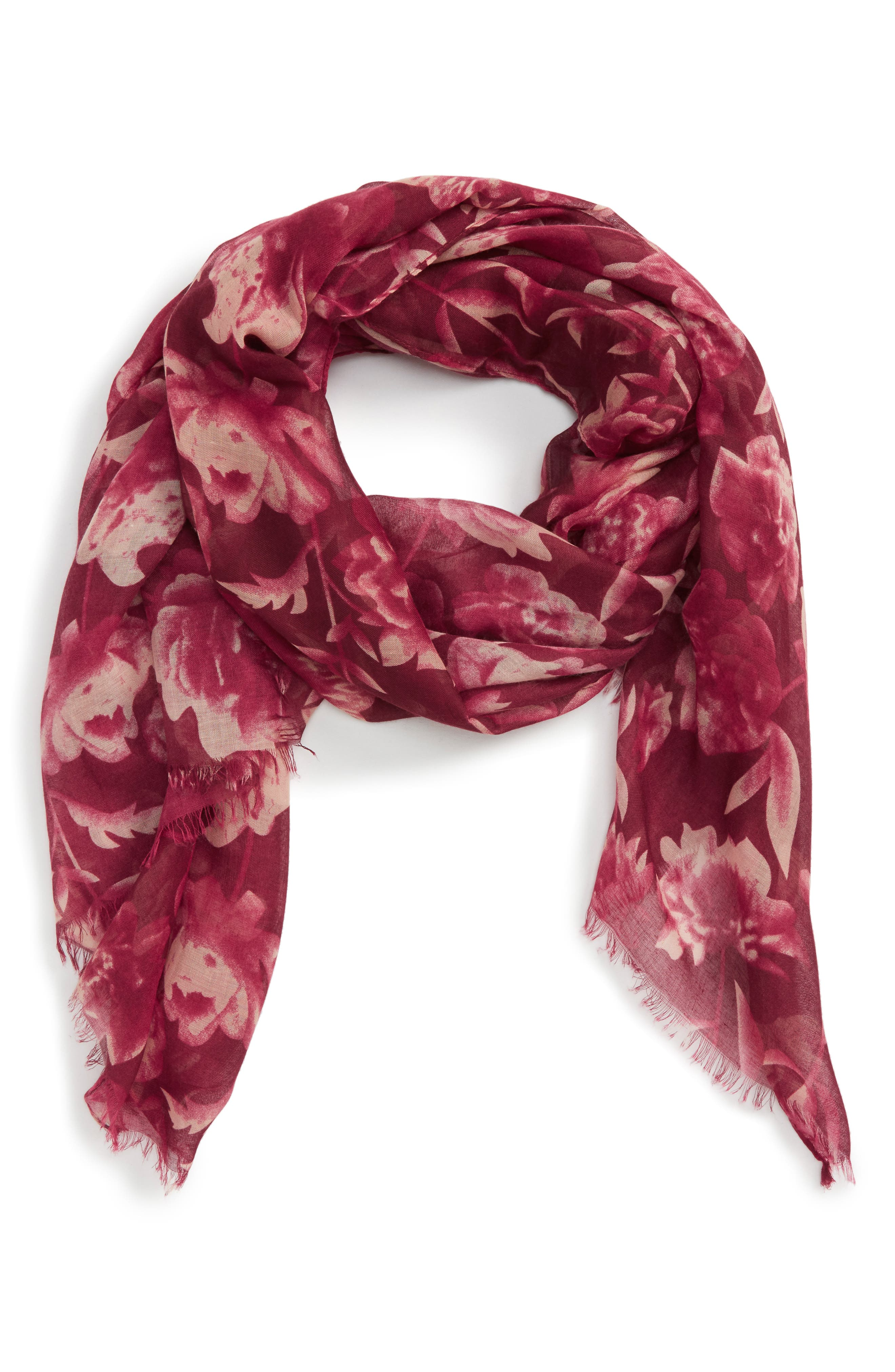 Floral Print Scarf,                         Main,                         color, Berry