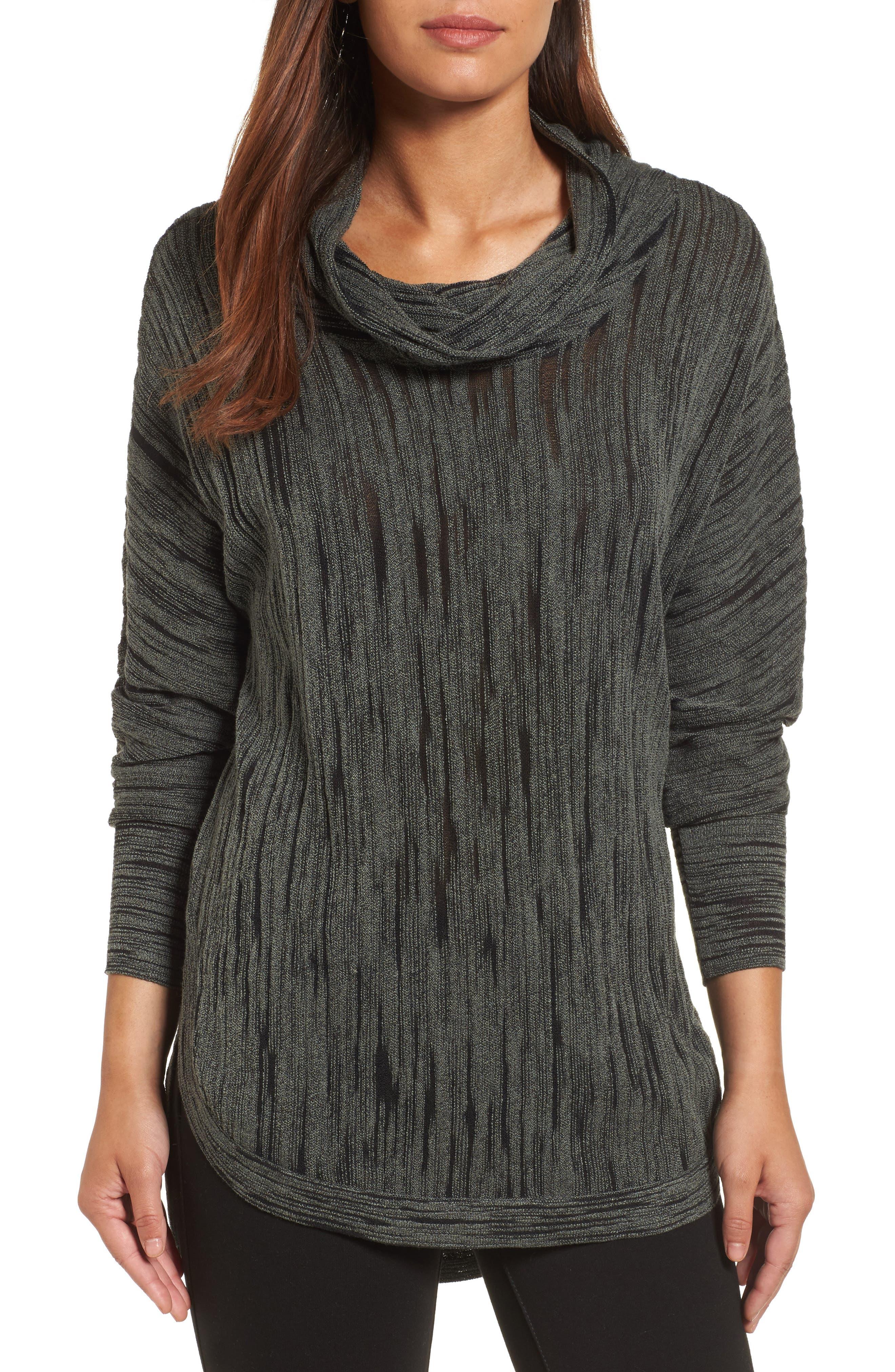 NIC + ZOE Cowl Neck Open Stitch Sweater