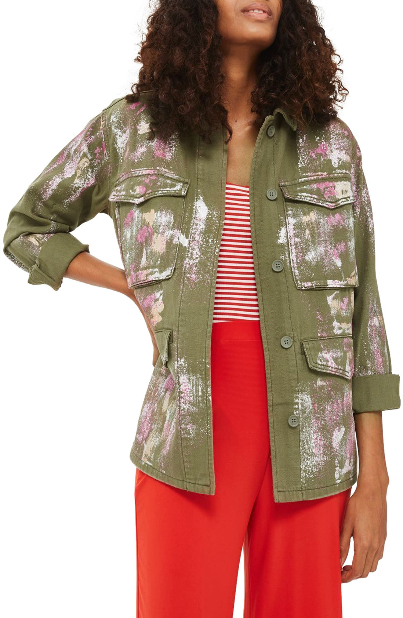 Topshop Ethan Metallic Foil Shirt Jacket