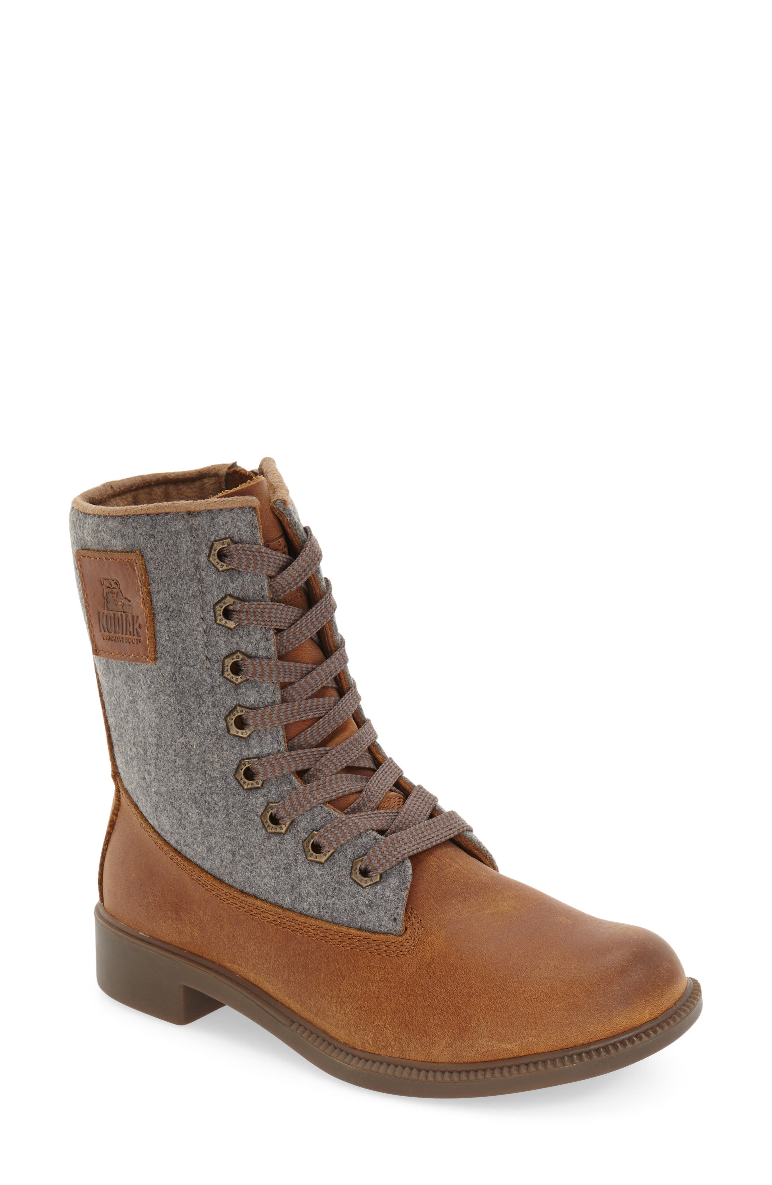 'Addison' Waterproof Insulated Zip Boot,                             Main thumbnail 1, color,                             Caramel/ Grey Leather