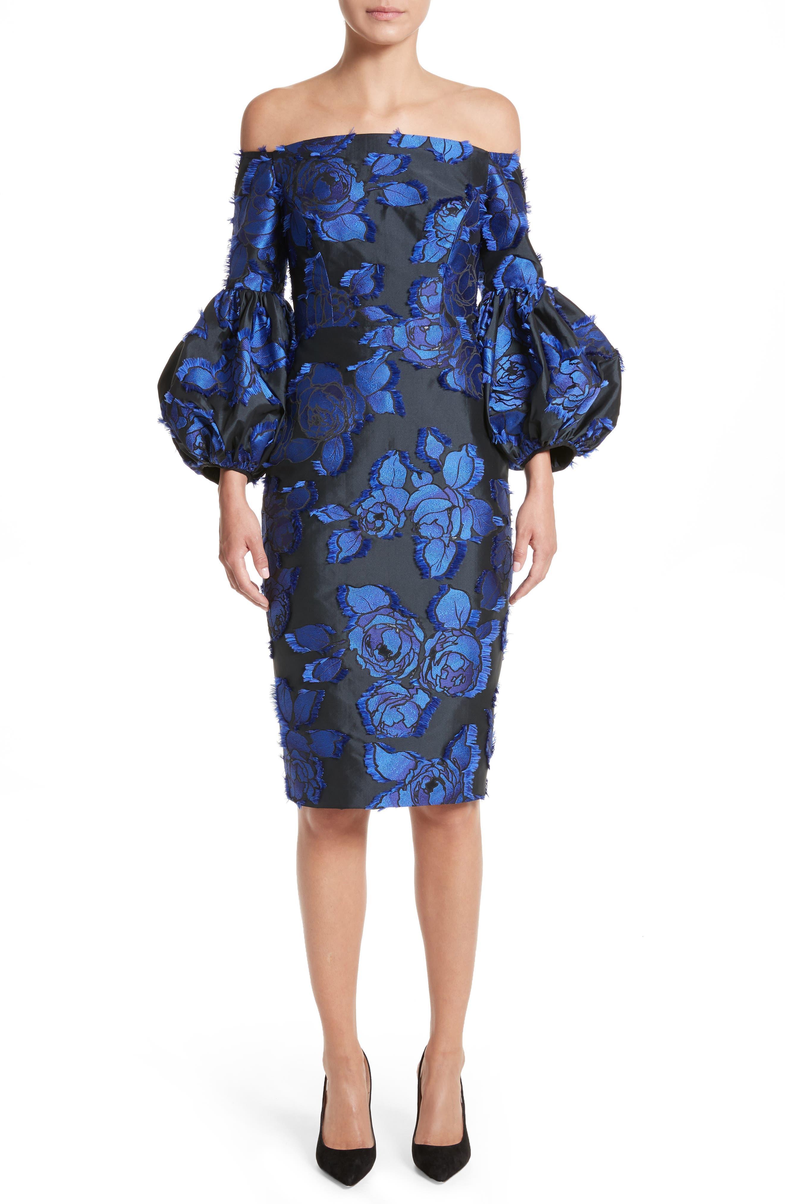 Fring Brocade Puff Sleeve Dress,                             Main thumbnail 1, color,                             Black/ Lapis