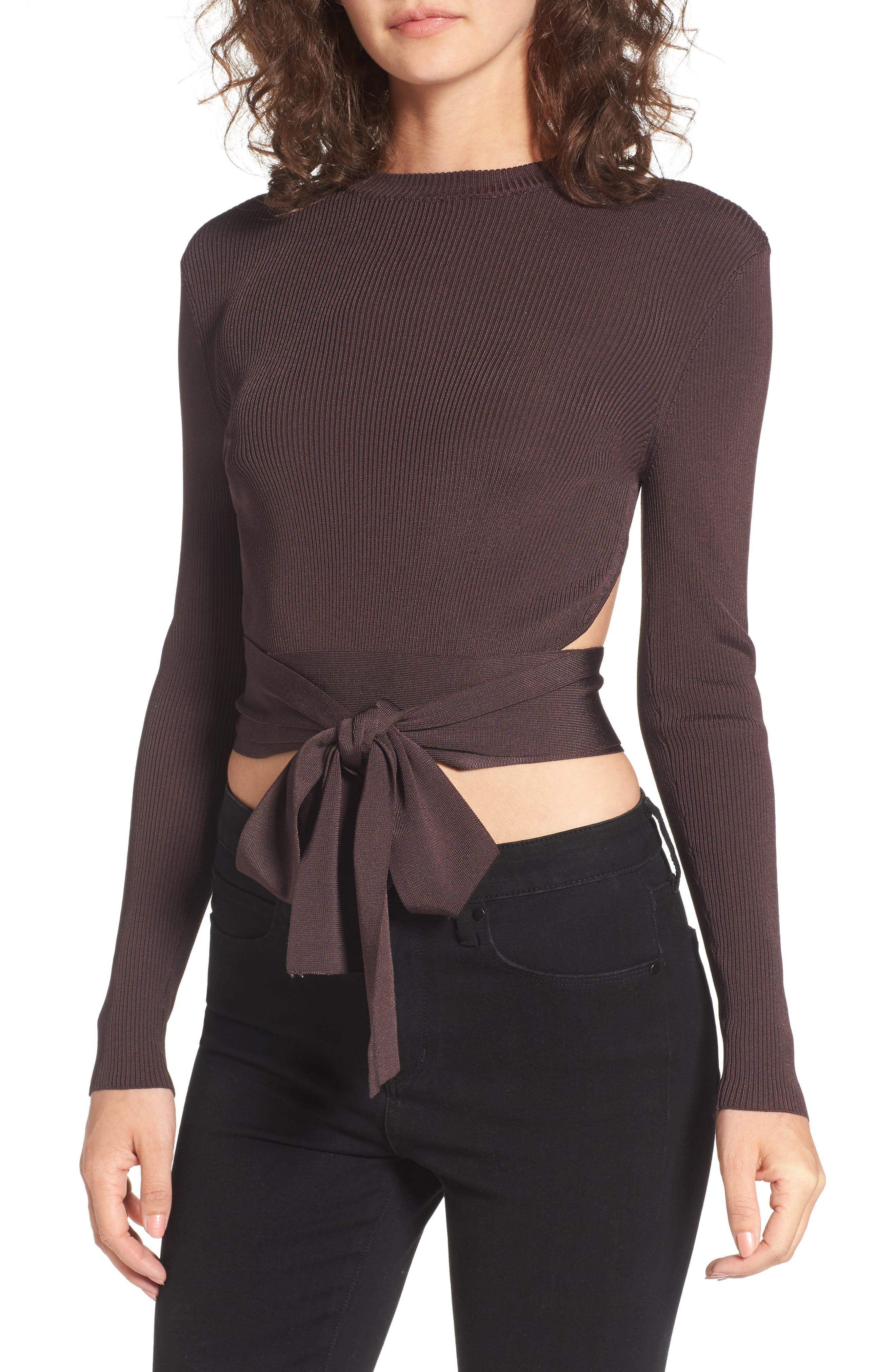 Desiree Cutout Ribbed Top,                         Main,                         color, Deep Wine