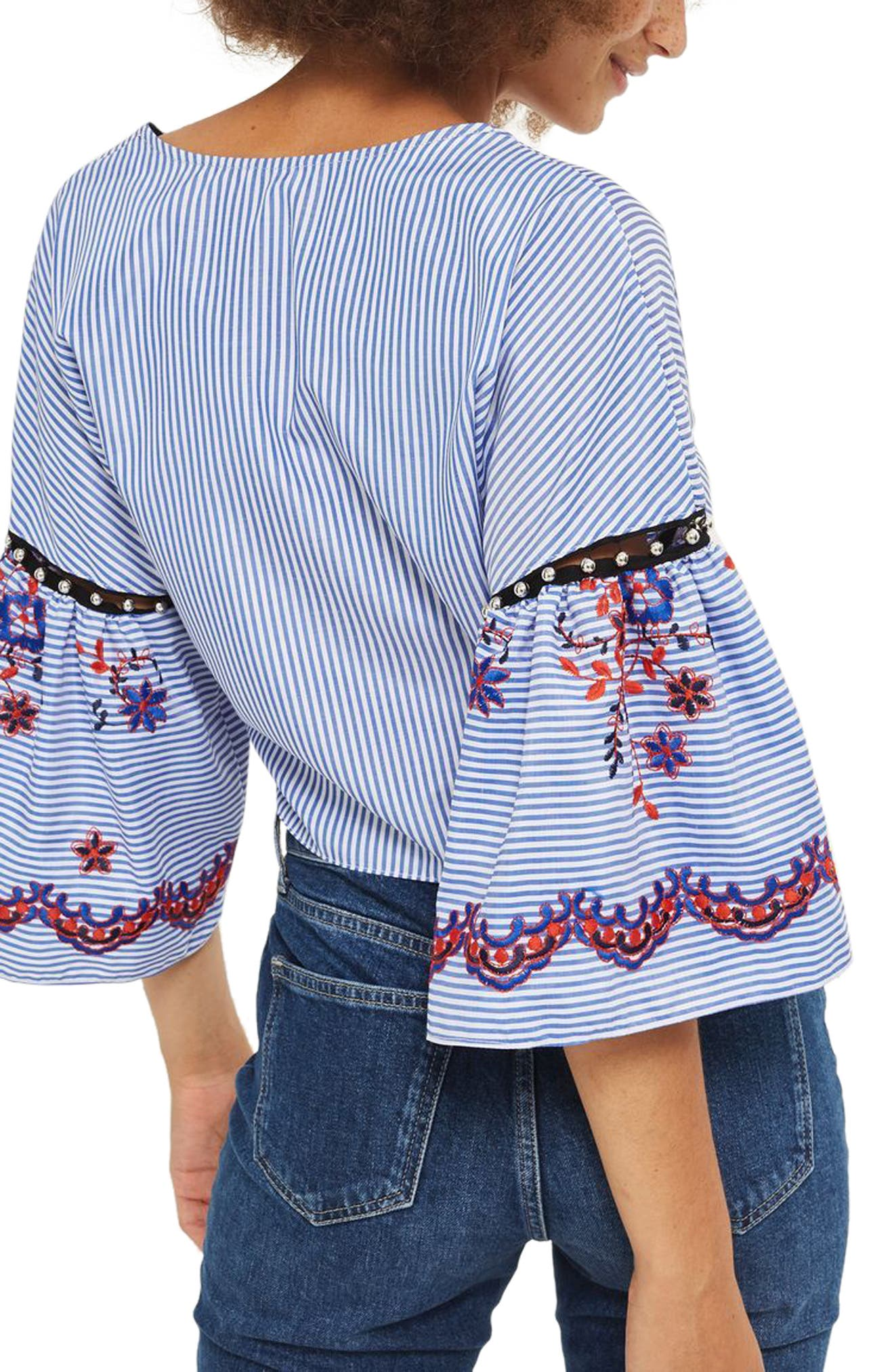 Alternate Image 2  - Topshop Embroidered Stripe Wrap Top