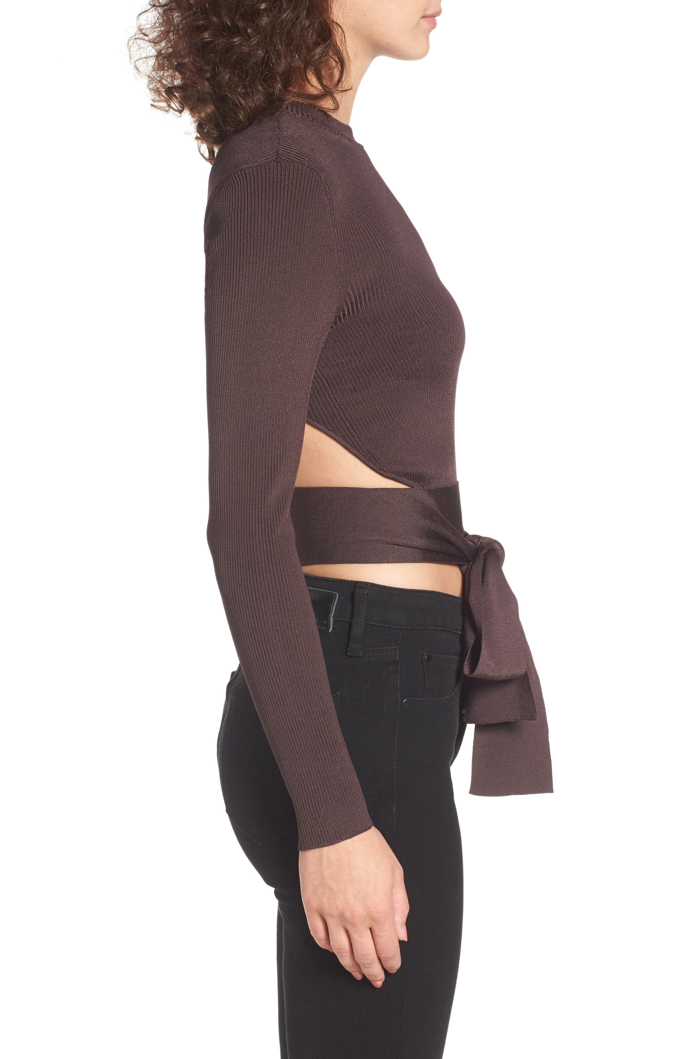 Desiree Cutout Ribbed Top,                             Alternate thumbnail 3, color,                             Deep Wine