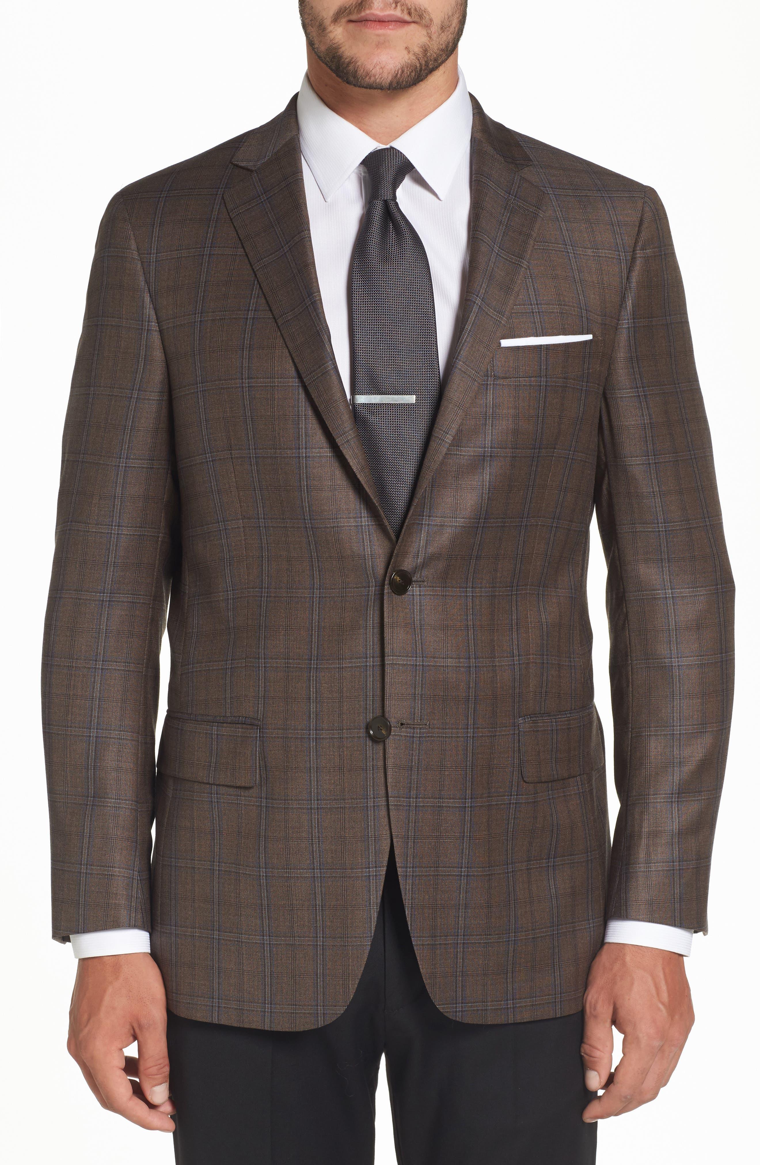 Classic Fit Plaid Wool Sport Coat,                         Main,                         color, Medium Brown