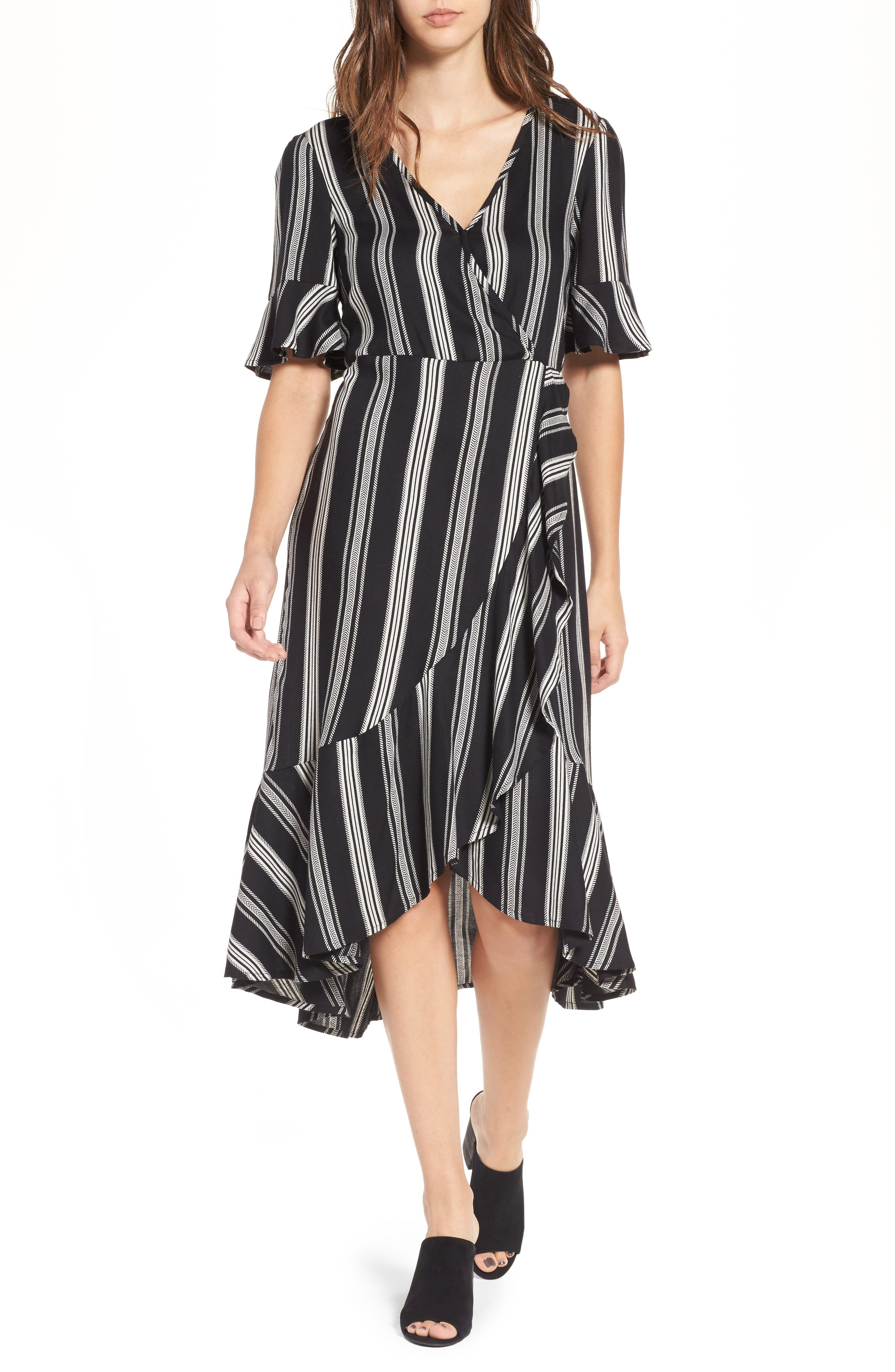 Band of Gypsies Herringbone Ruffle Faux Wrap Dress