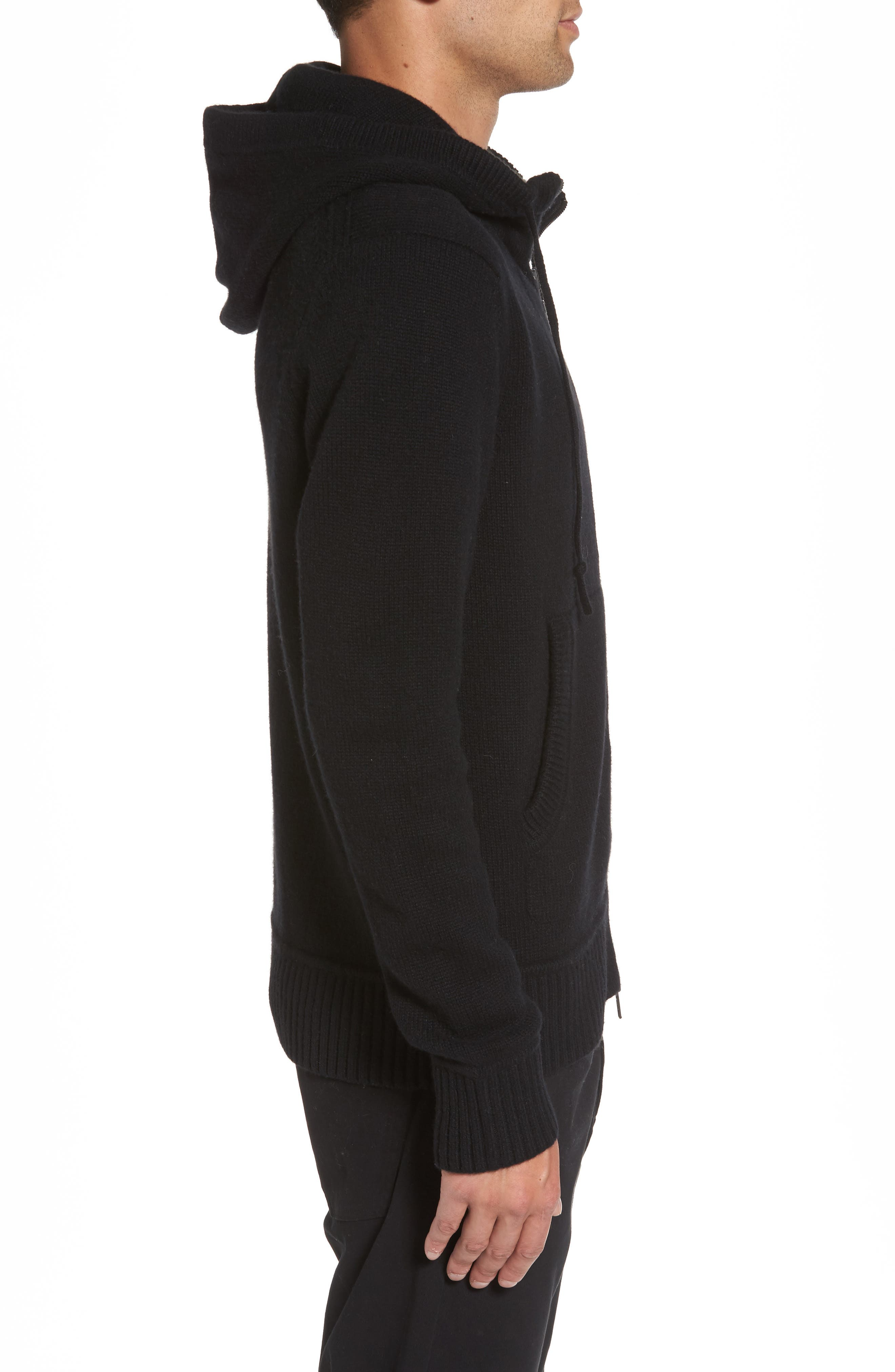 Front Zip Wool & Cashmere Hoodie,                             Alternate thumbnail 3, color,                             Black