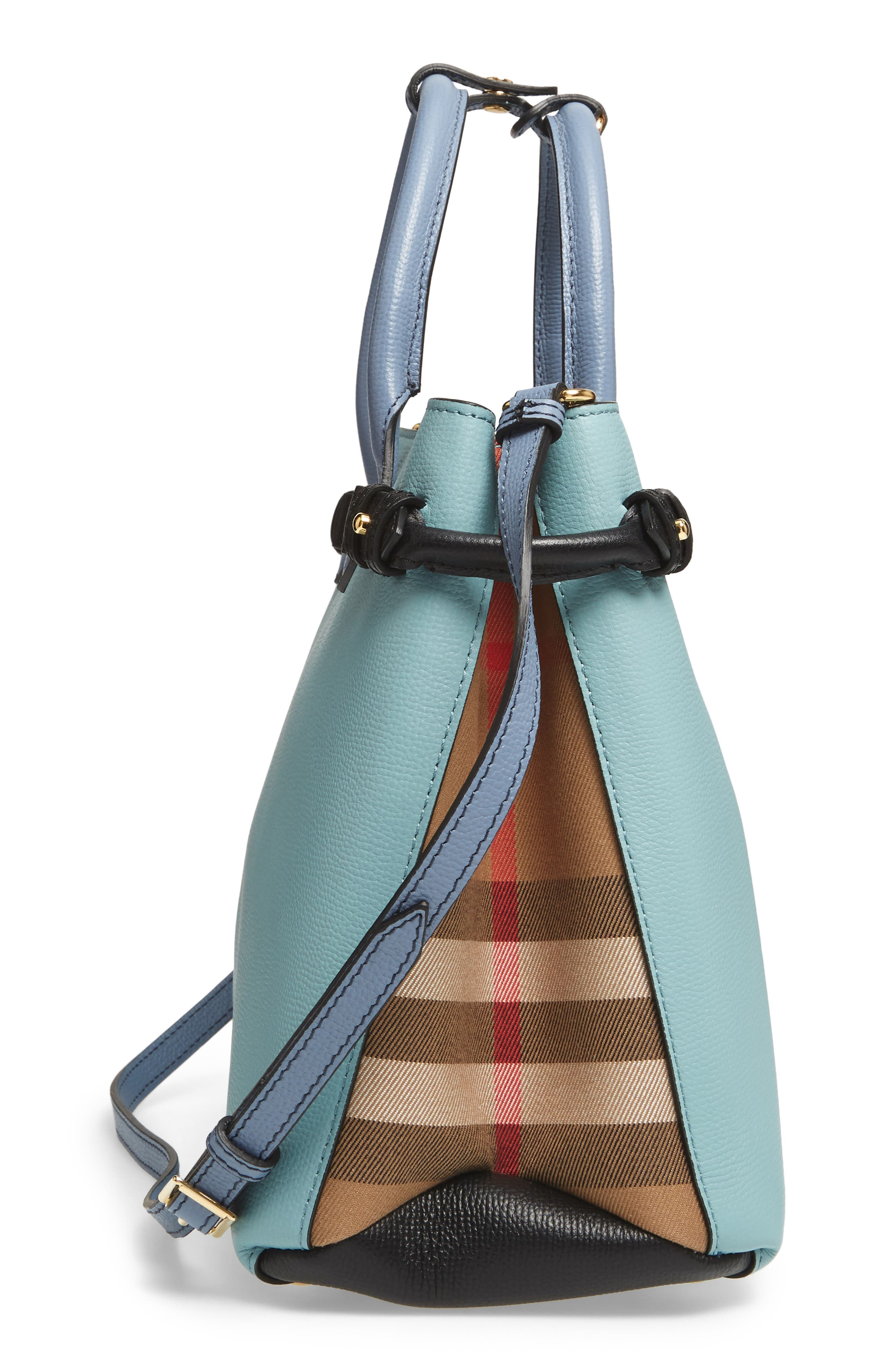 Medium Banner House Check & Leather Tote,                             Alternate thumbnail 4, color,                             Pale Opal/Slate Blue