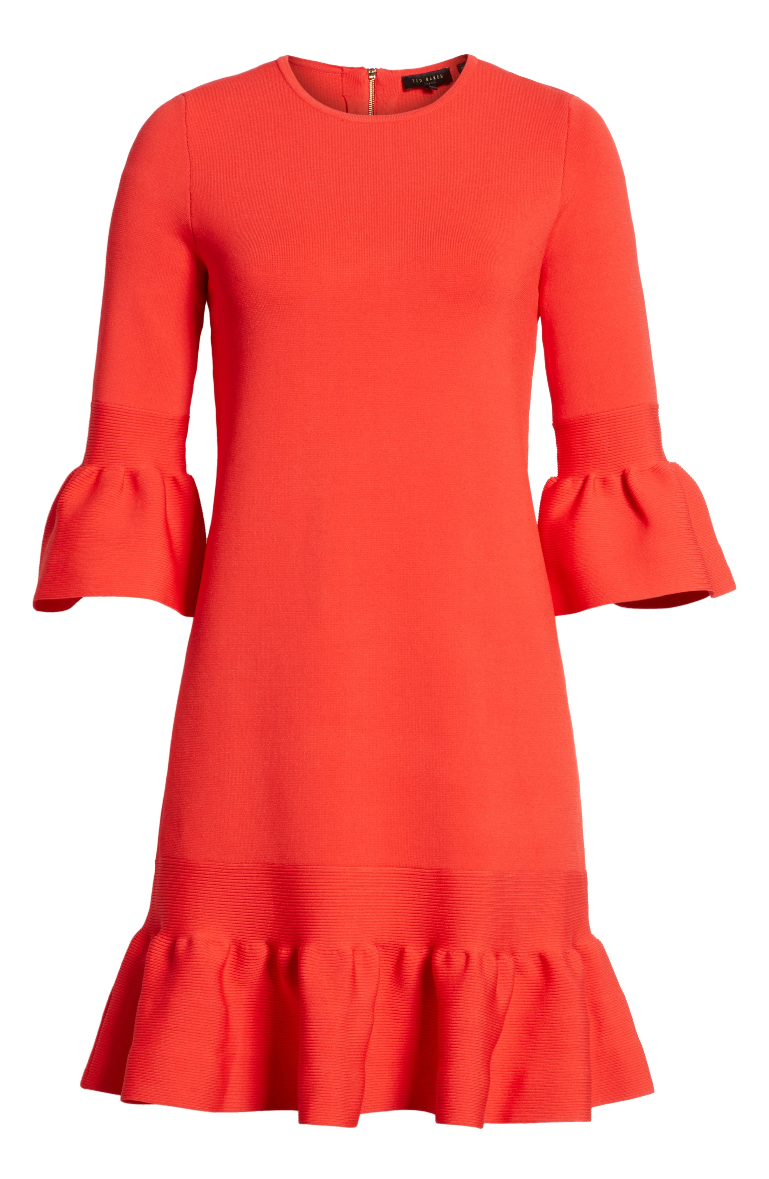 Tynia Peplum Ruffle Shift Dress,                             Alternate thumbnail 6, color,                             Bright Red